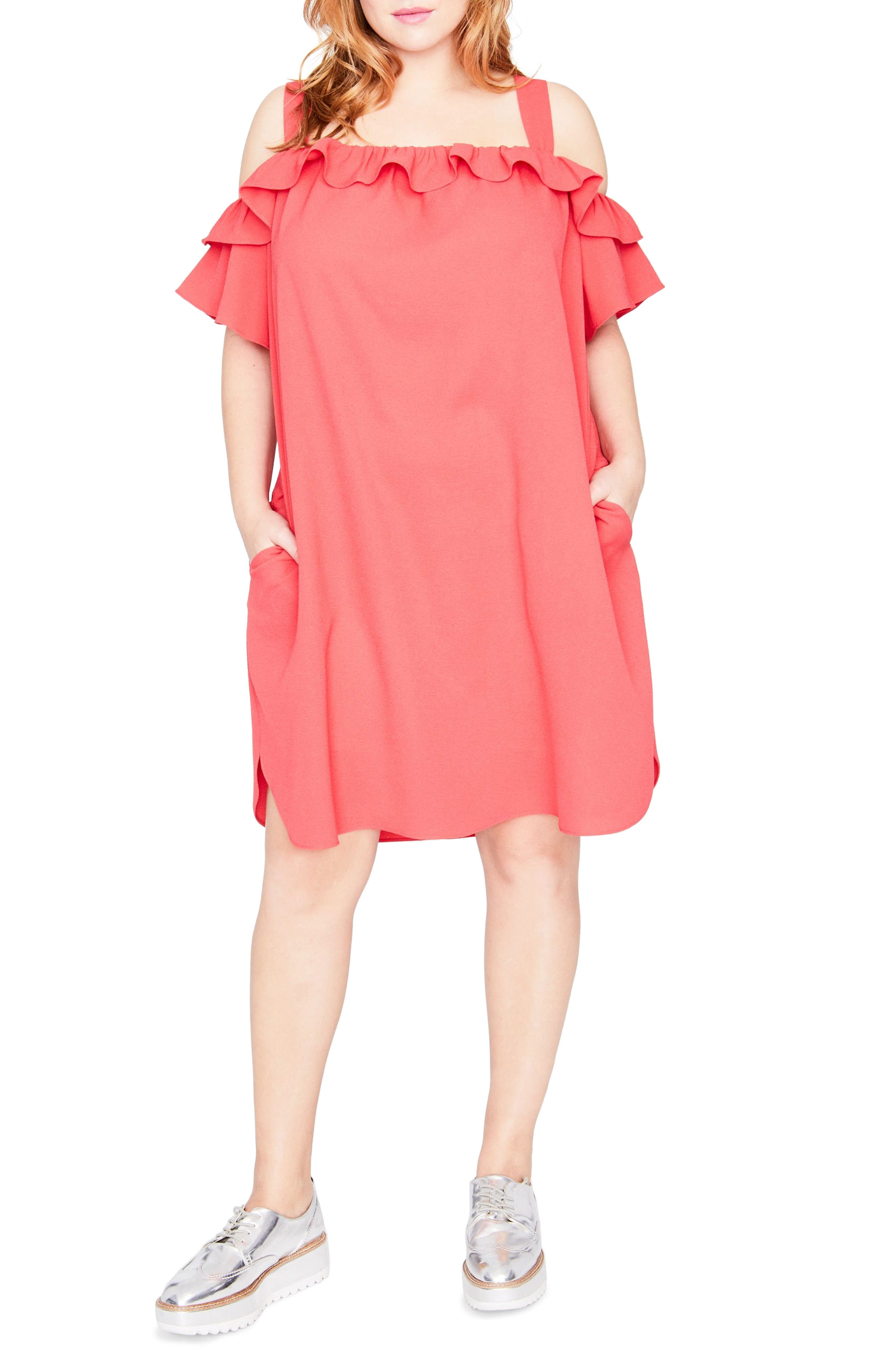 Ruffle Edge Dress,                         Main,                         color, Paradise