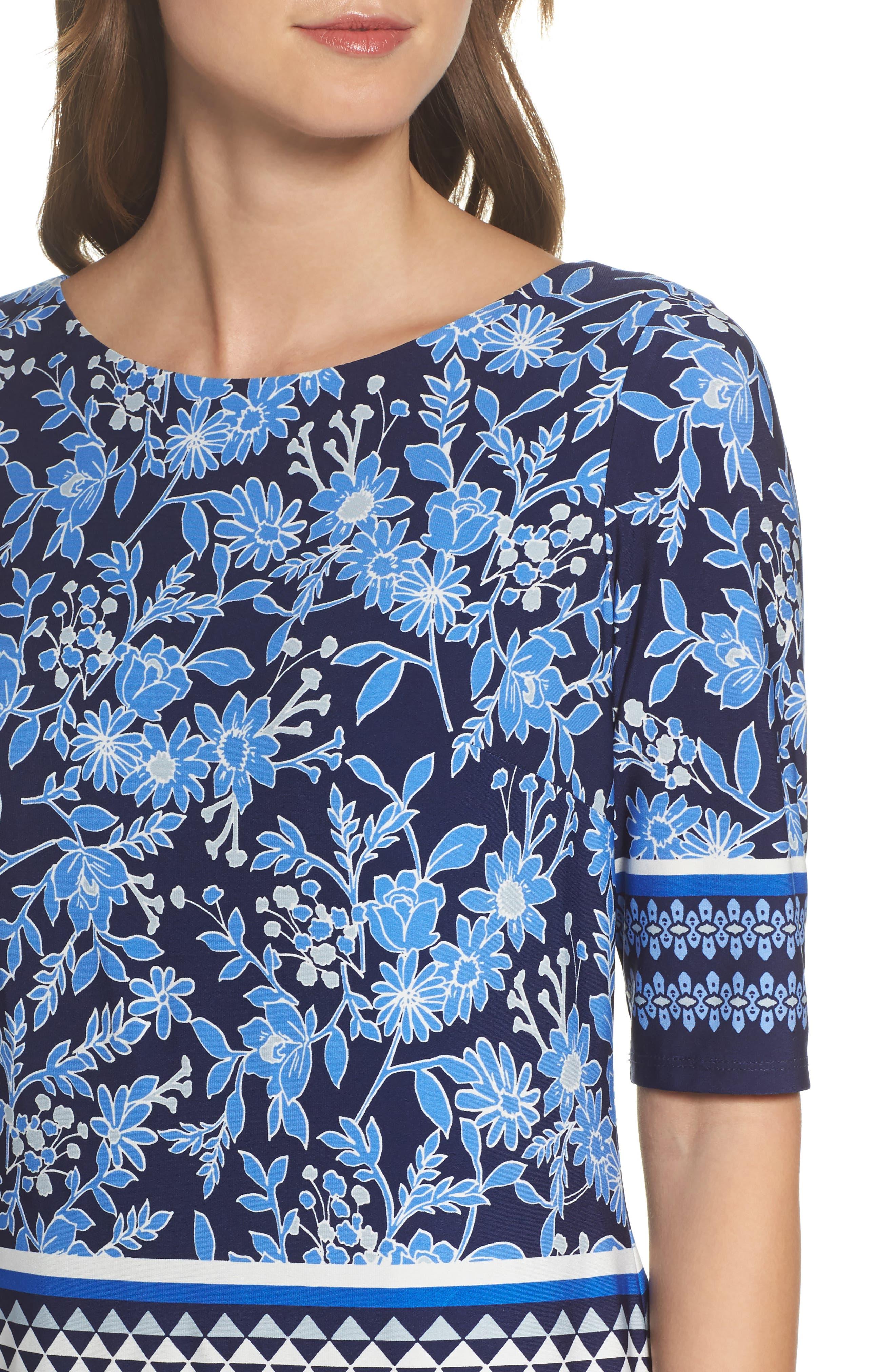 Print Shift Dress,                             Alternate thumbnail 4, color,                             Blue/ Ivory