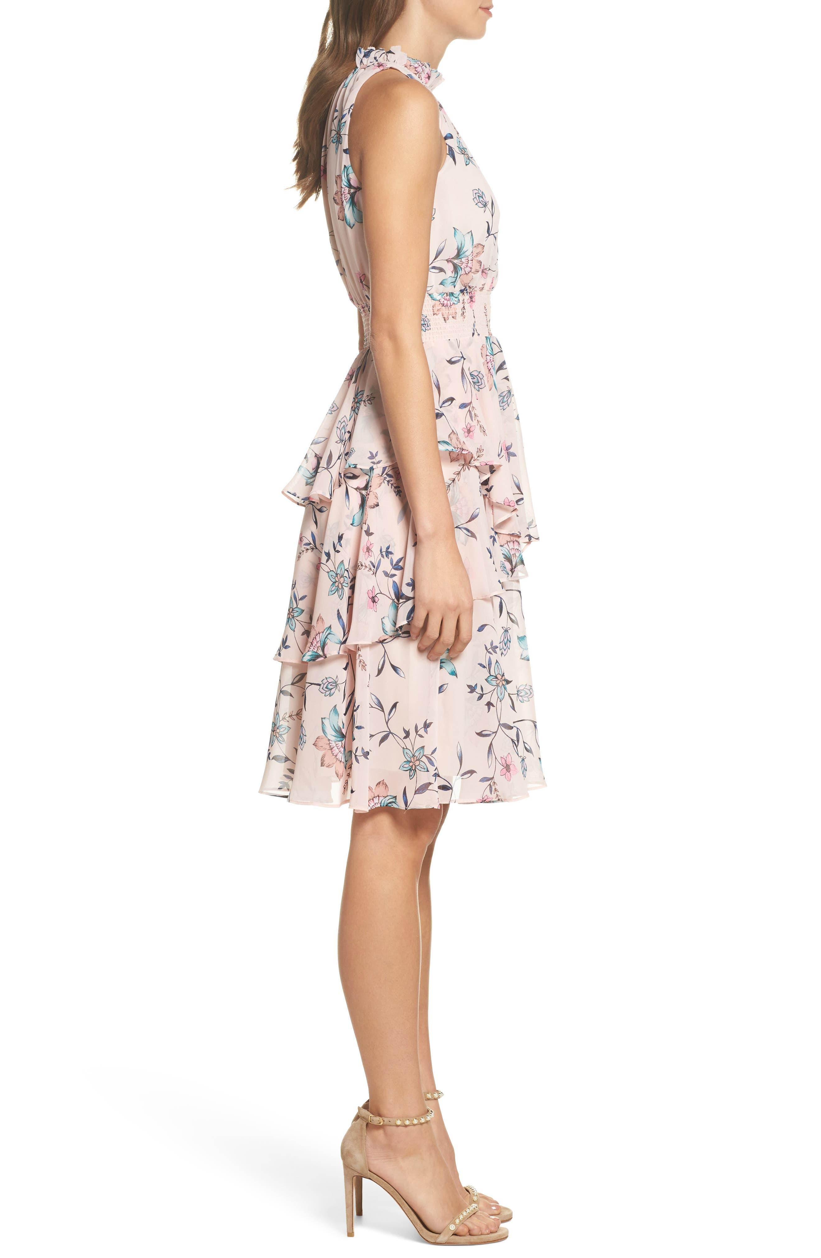 Floral Ruffle Dress,                             Alternate thumbnail 3, color,                             Blush