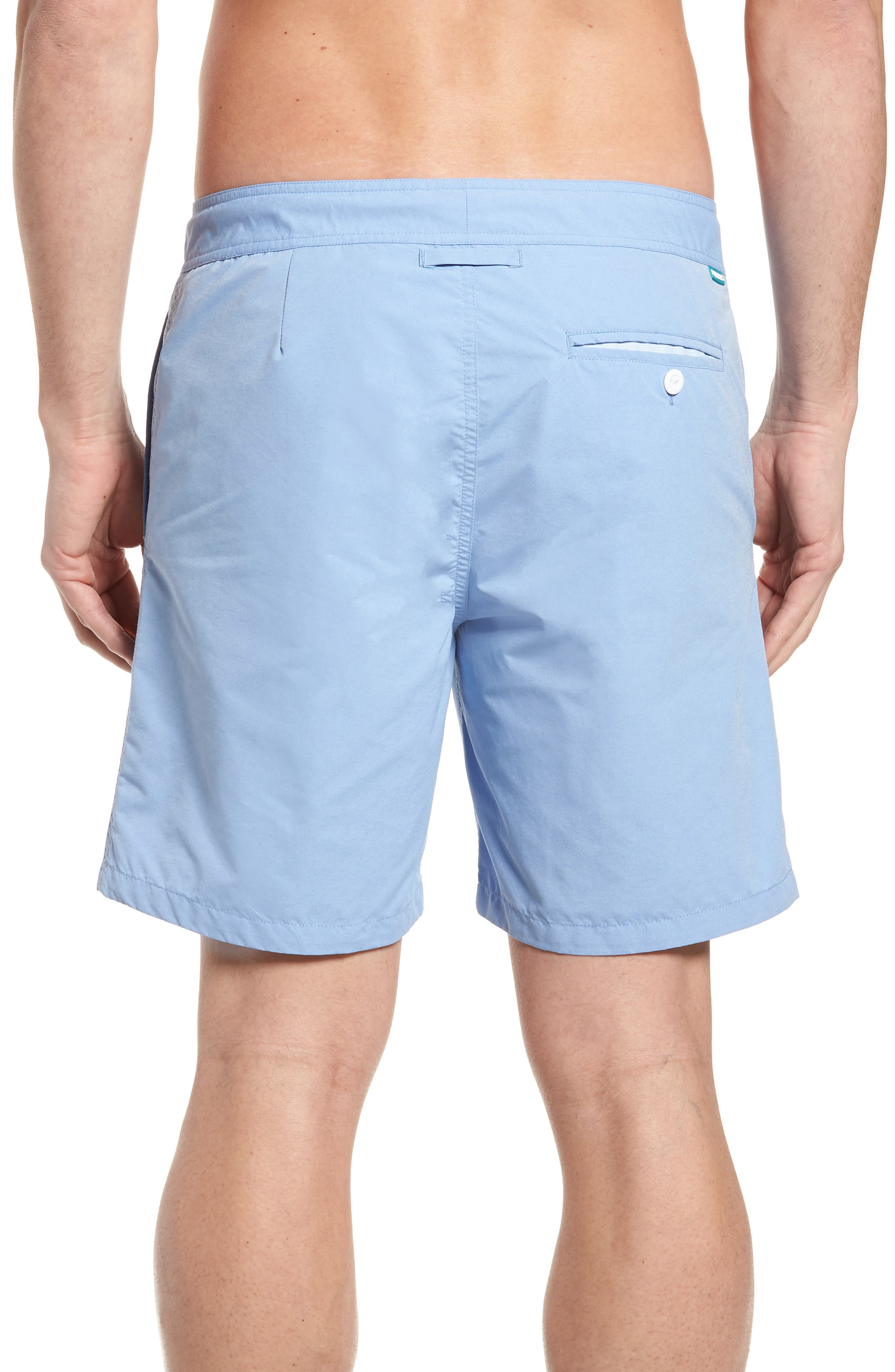 Solid 7-Inch Swim Trunks,                             Alternate thumbnail 2, color,                             Blue Chambray