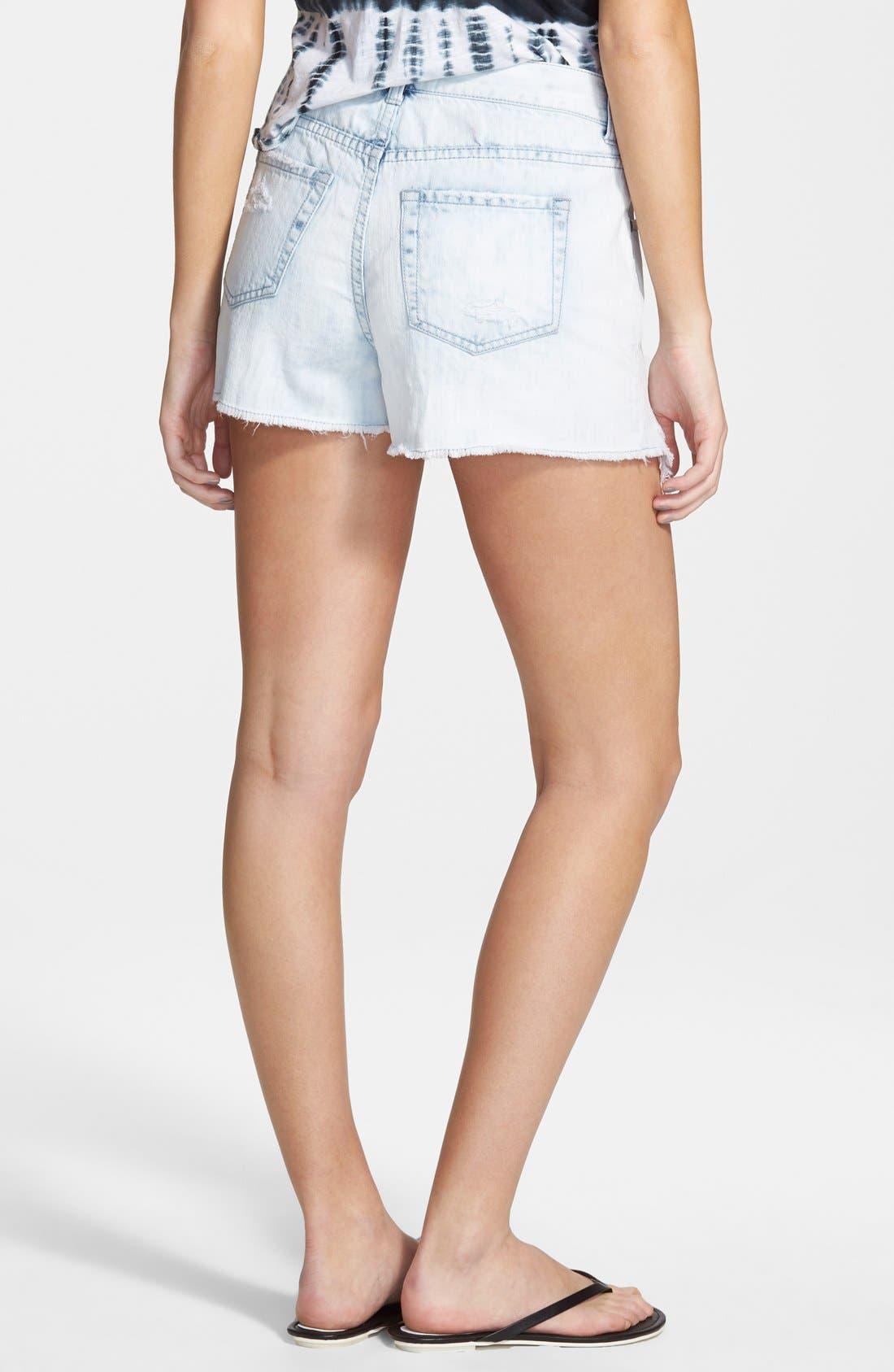 Alternate Image 2  - Sun & Shadow 'Pretty Pocket' Lace Trim High Waist Denim Cutoff Shorts (Juniors)