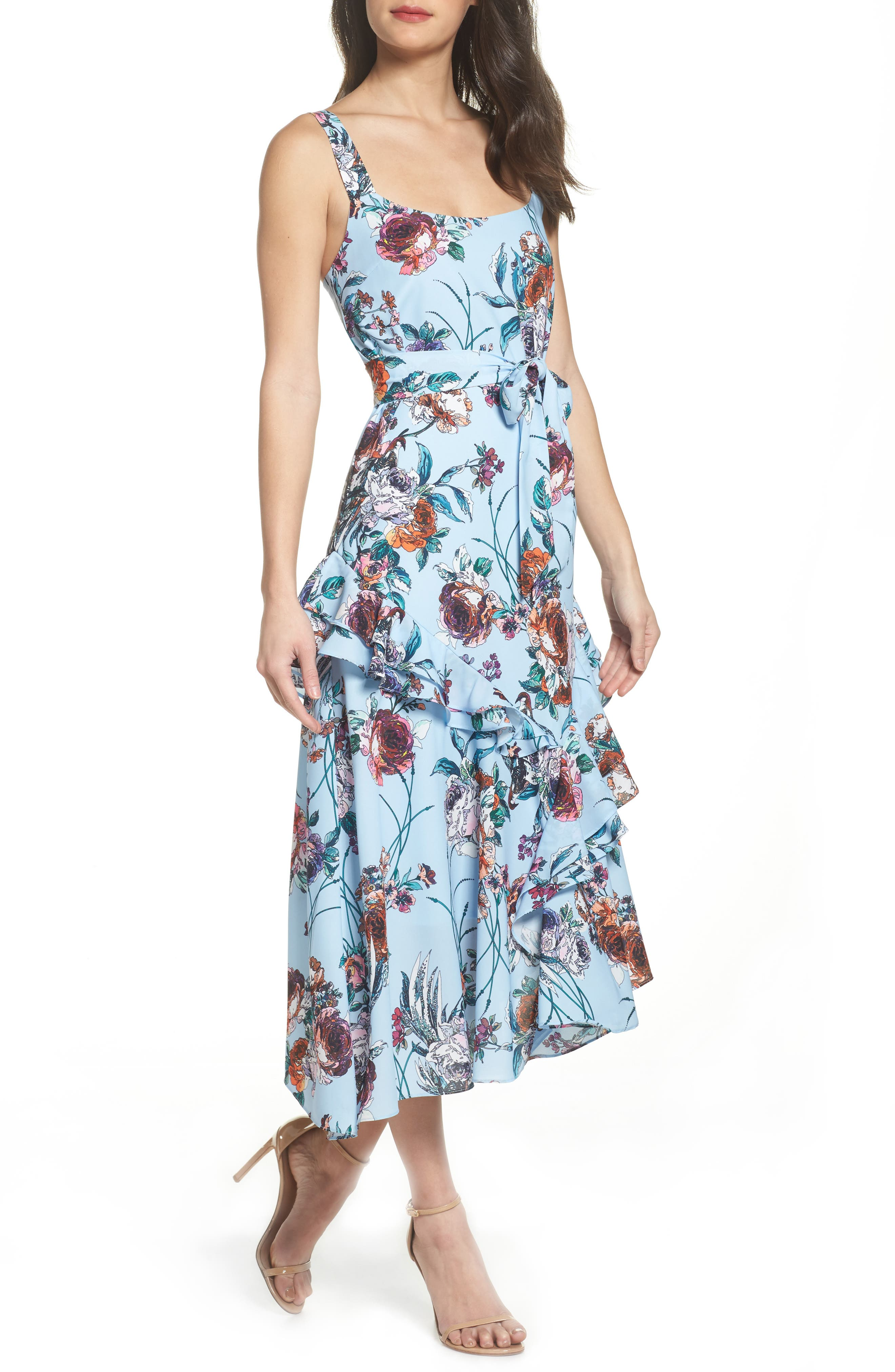 Cooper St. Botanical Asymmetric Ruffle Sundress