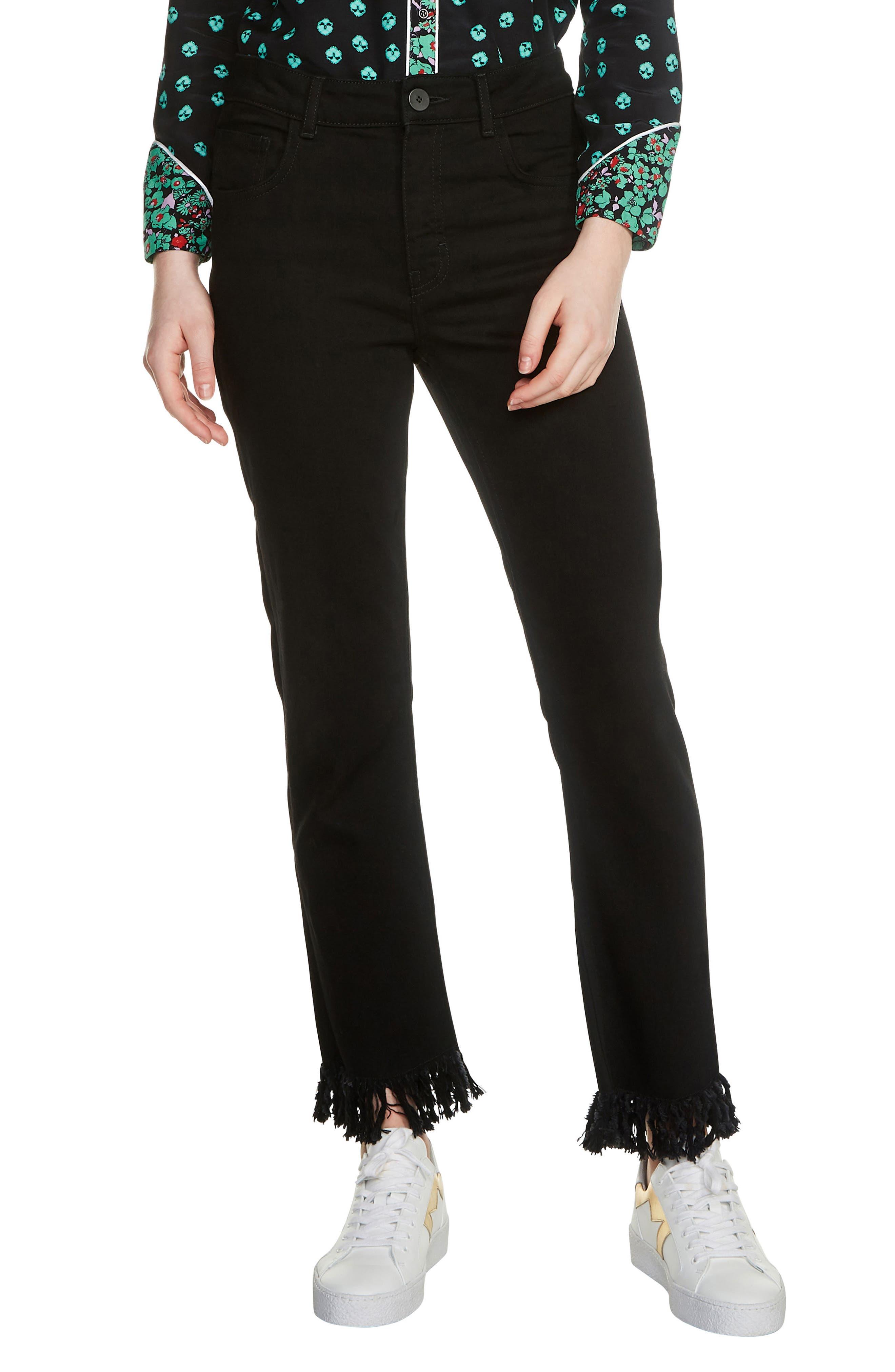 Panako Fringe Hem Jeans,                         Main,                         color, Black 210