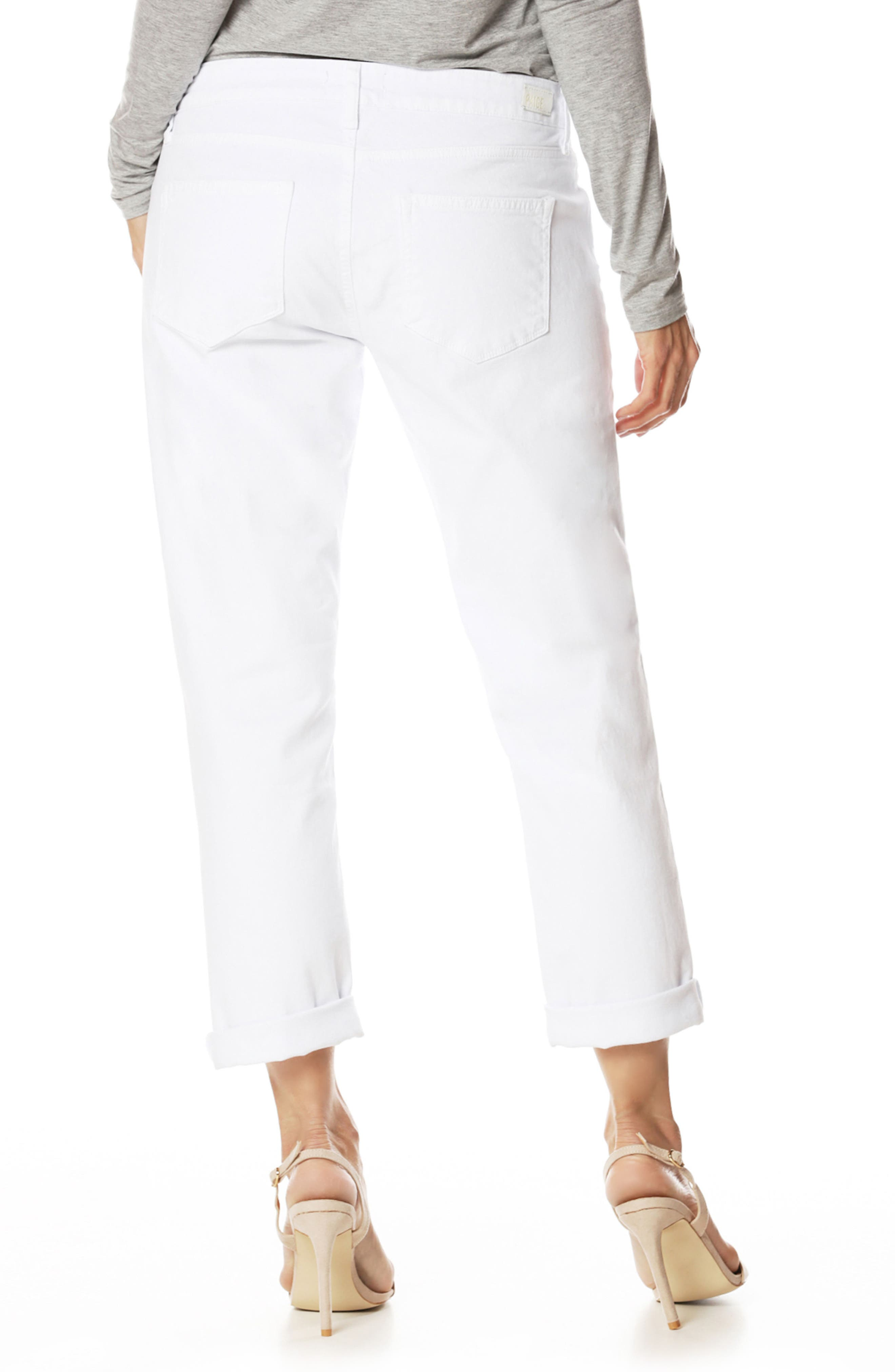 Brigitte Crop Boyfriend Jeans,                             Alternate thumbnail 2, color,                             Crisp White