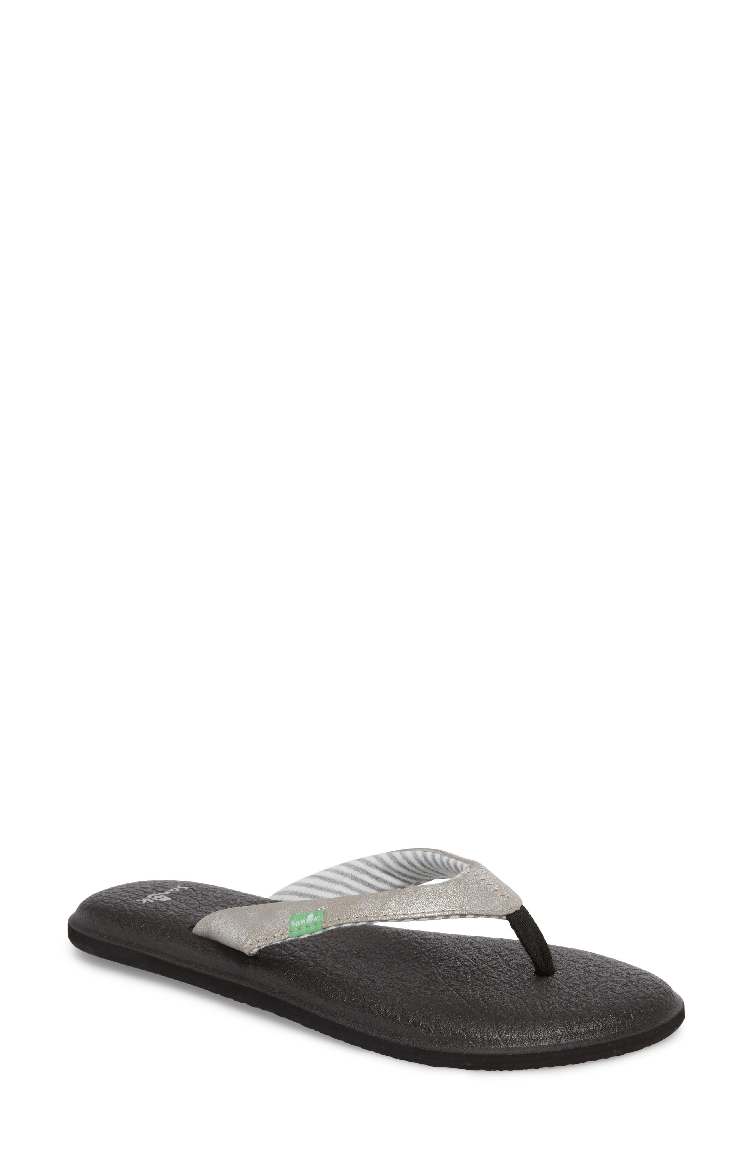 'Yoga Chakra' Flip Flop,                         Main,                         color, Silver
