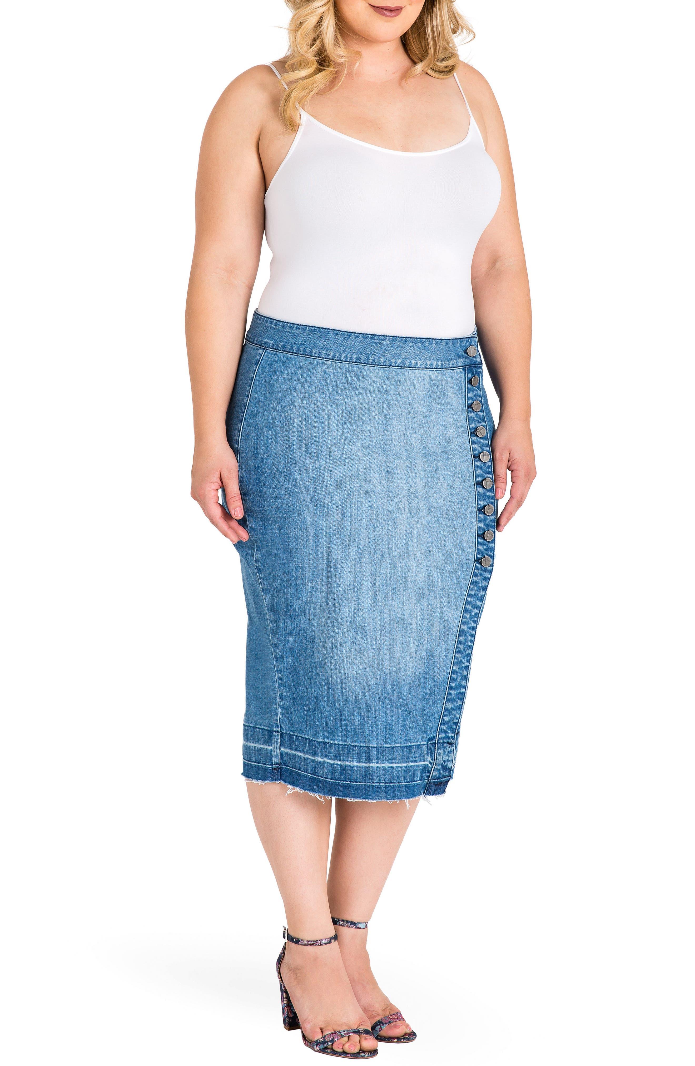 Harley Denim Midi Skirt,                             Alternate thumbnail 3, color,                             Light Blue