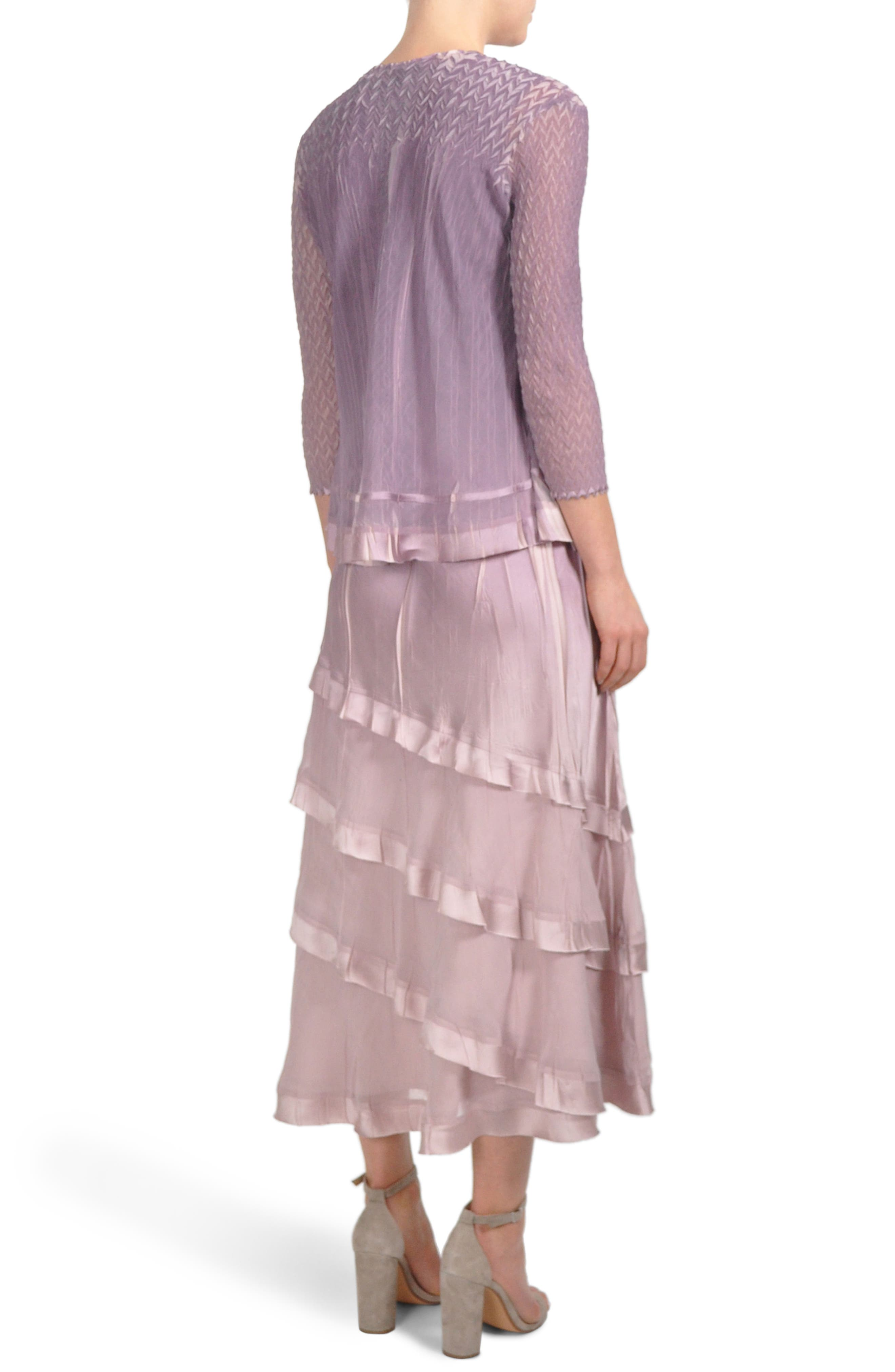 Tiered Hem Dress with Jacket,                             Alternate thumbnail 3, color,                             Lotus Orchid Ombre