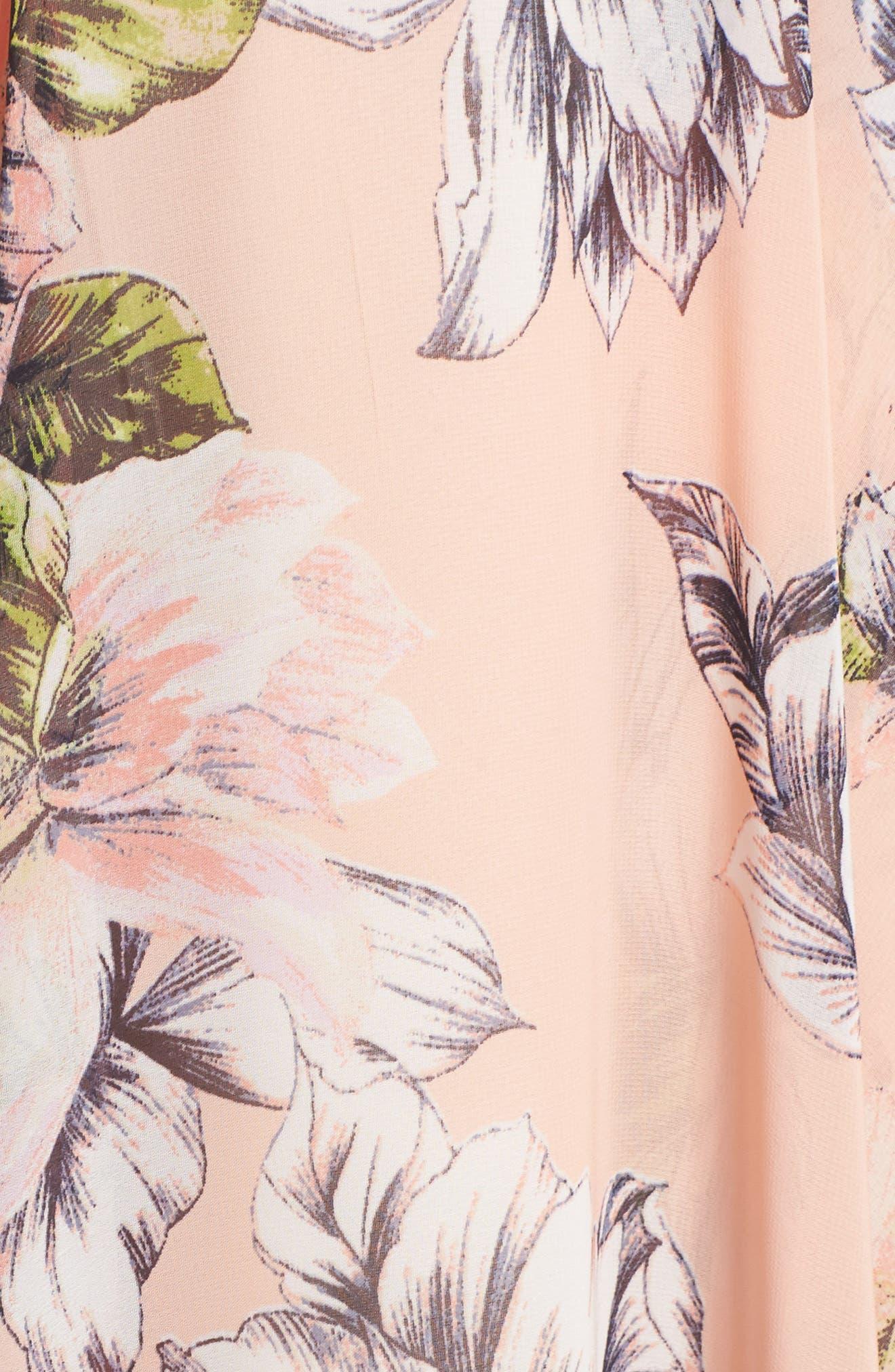 Floral Ruffle High/Low Maxi Dress,                             Alternate thumbnail 5, color,                             Blush
