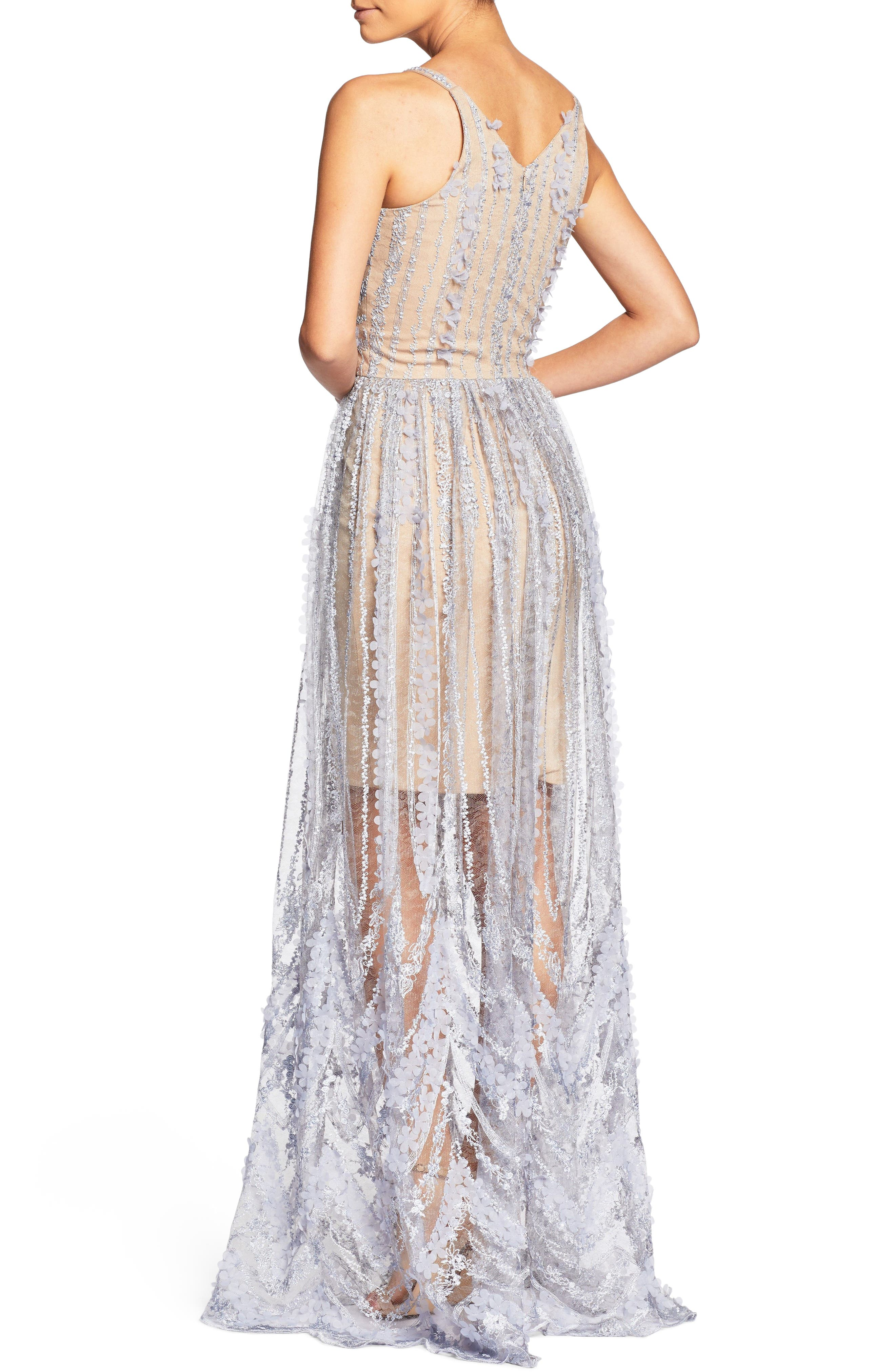 Chelsea Lace A-Line Gown,                             Alternate thumbnail 2, color,                             Mineral Blue/ Nude