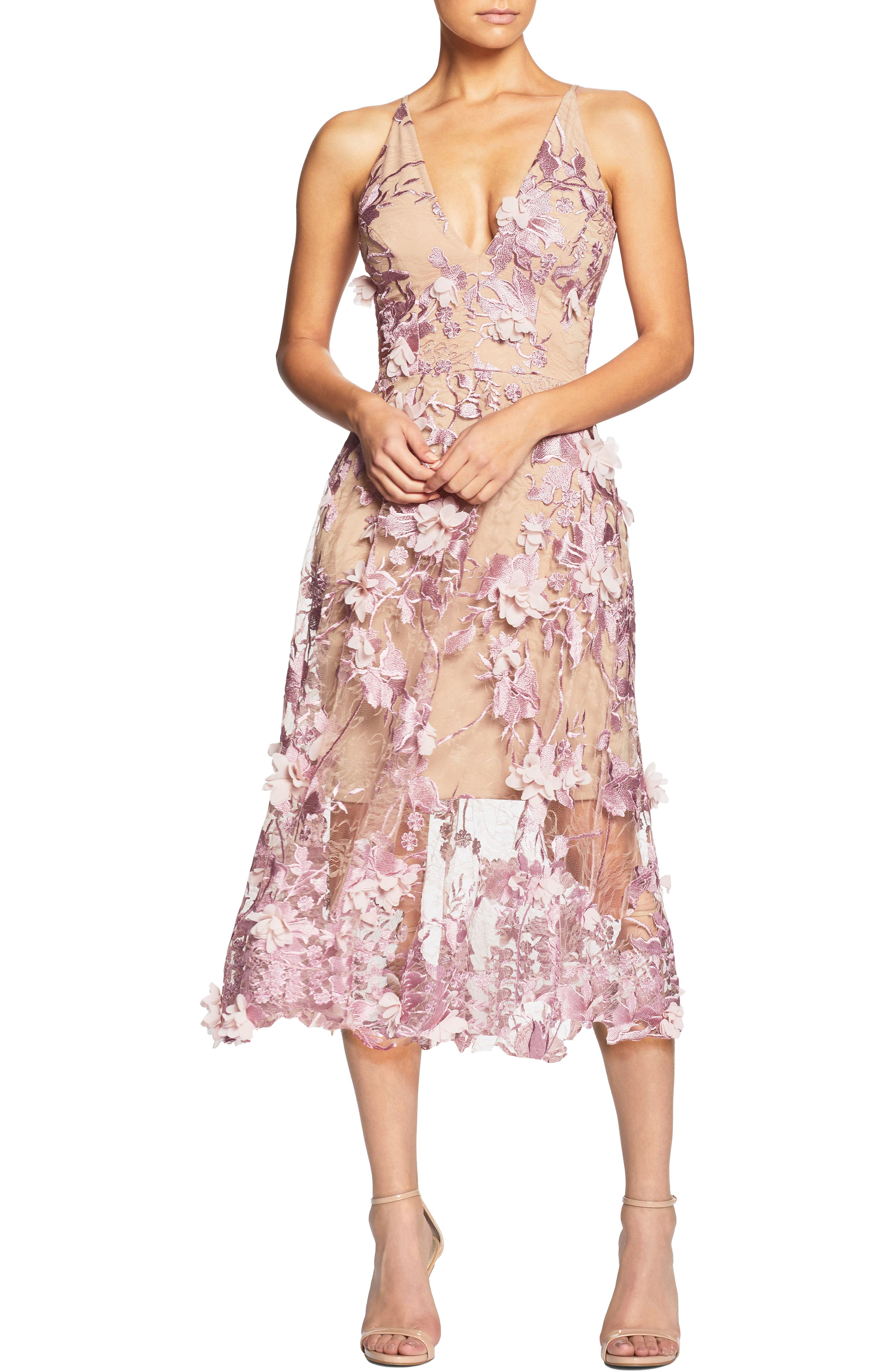 Main Image - Dress the Population Audrey Embroidered Fit & Flare Dress