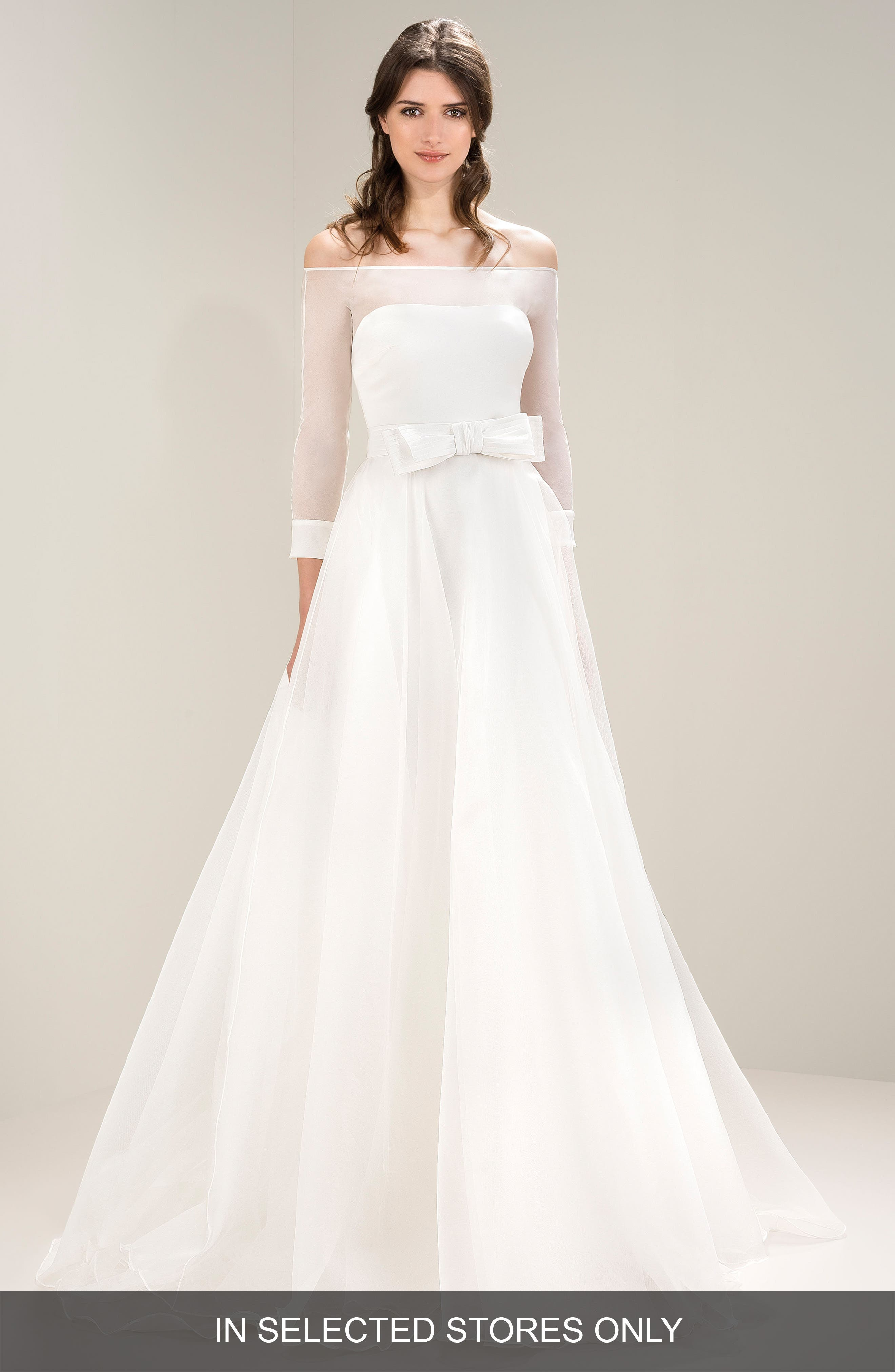 Off the Shoulder Bow Waist Gown,                             Main thumbnail 1, color,                             Ivory