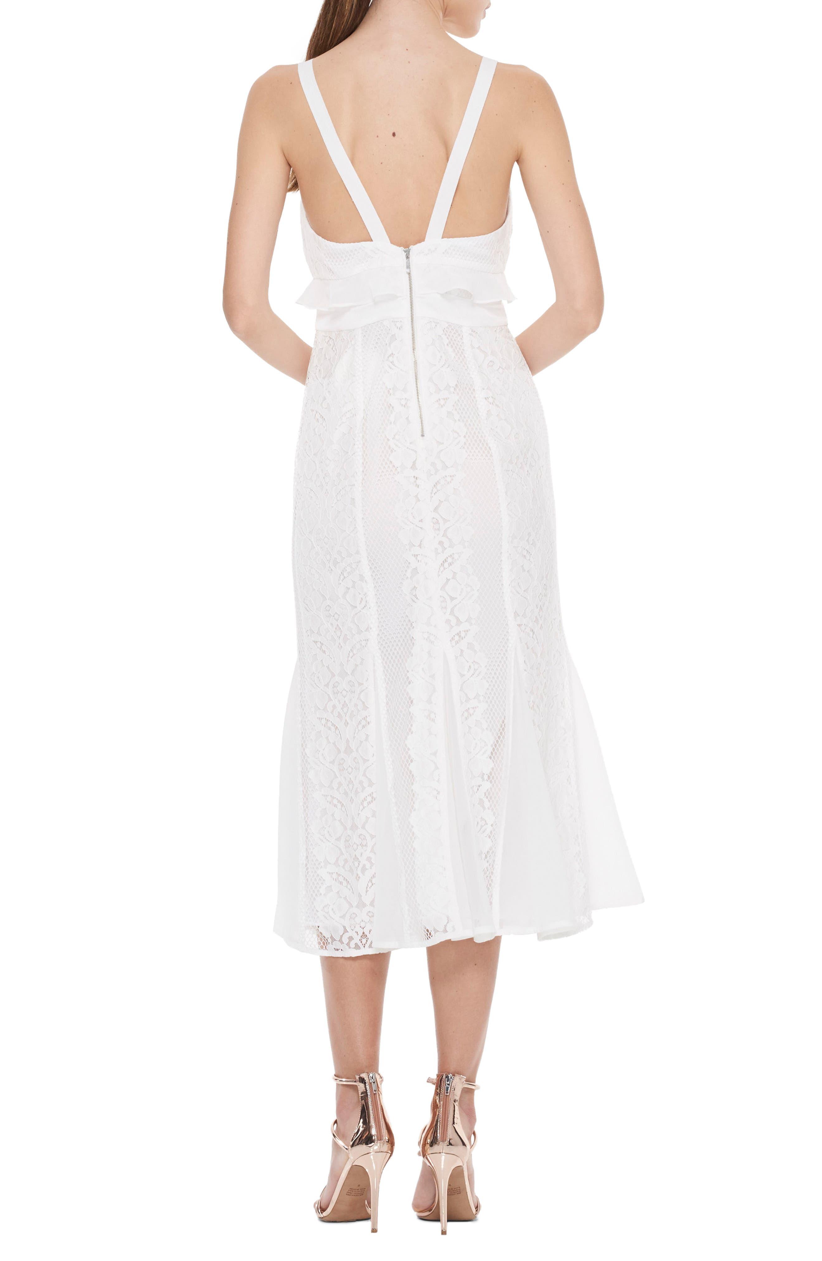 Adoring Ruffle Lace Midi Dress,                             Alternate thumbnail 2, color,                             White