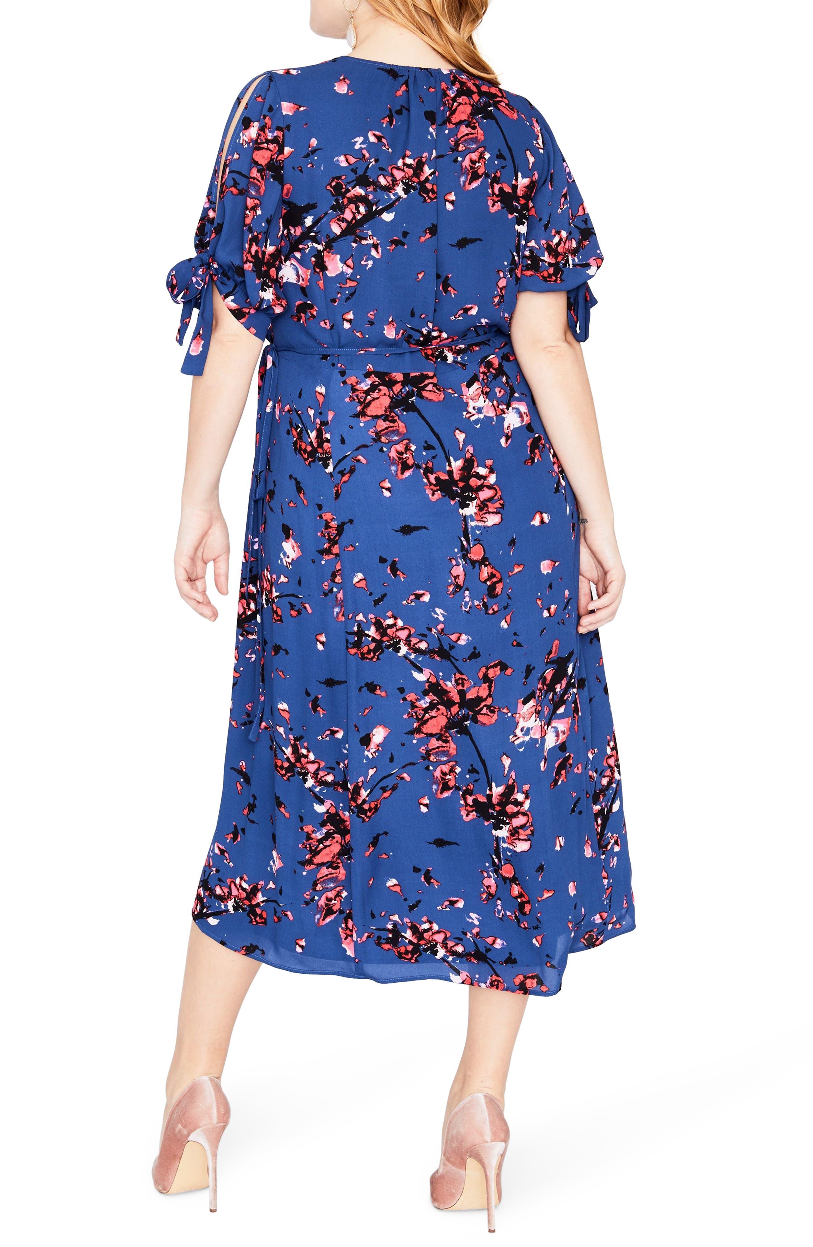 Floral Print Wrap Midi Dress,                             Alternate thumbnail 3, color,                             African Violet Combo