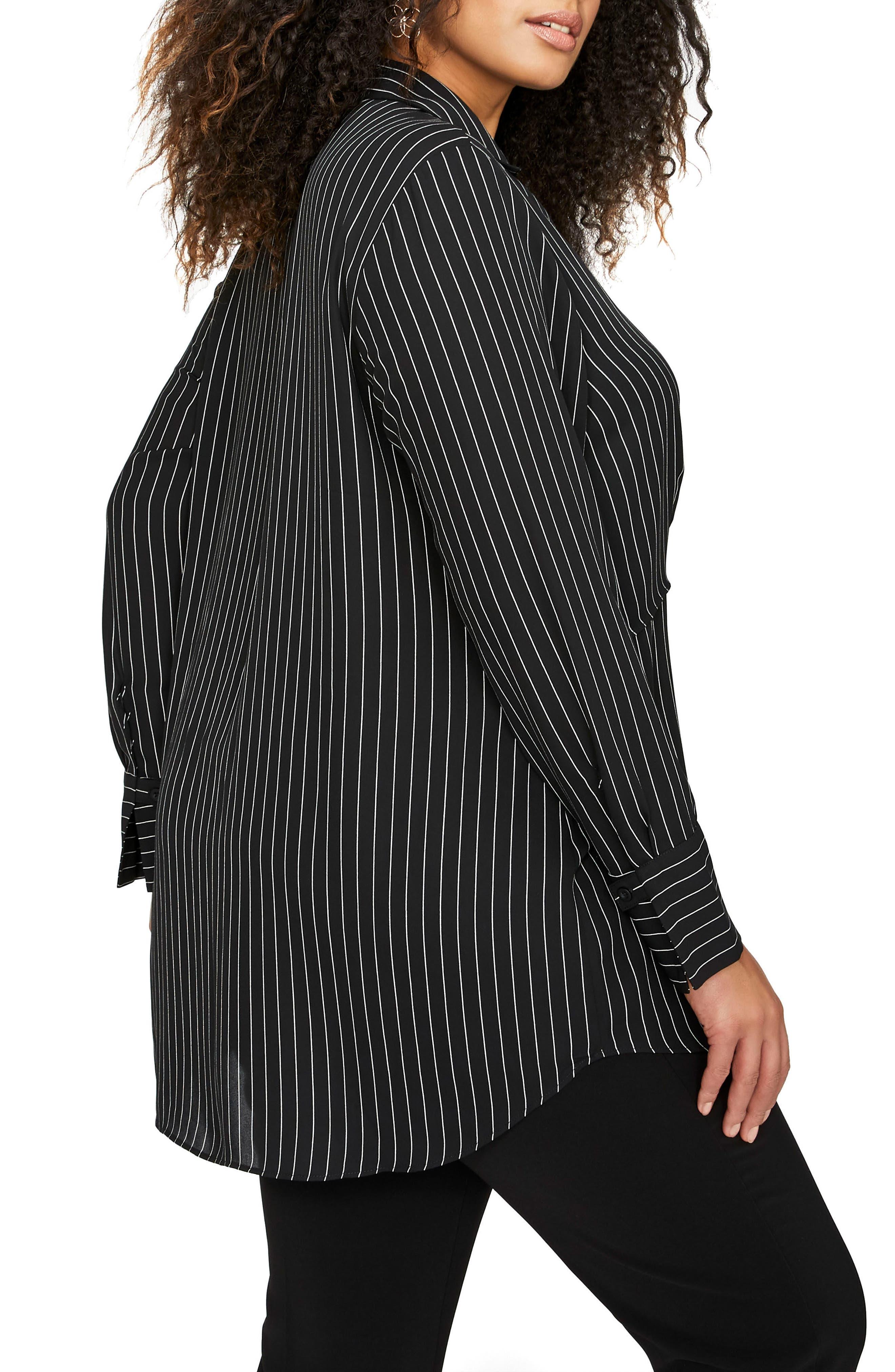 Side Tie Stripe Shirt,                             Alternate thumbnail 2, color,                             Pin Stripe Black Combo