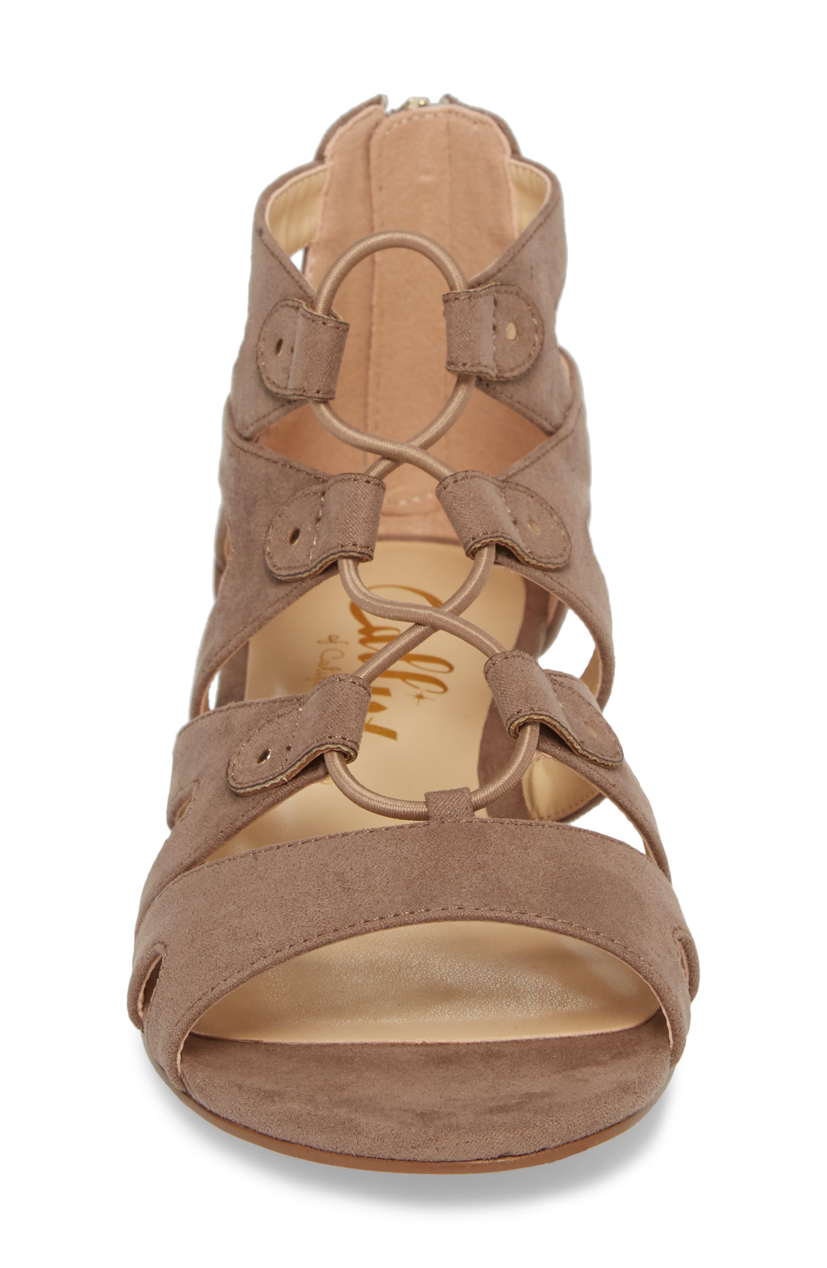 Lexx Lace-Up Sandal,                             Alternate thumbnail 4, color,                             Taupe Suede