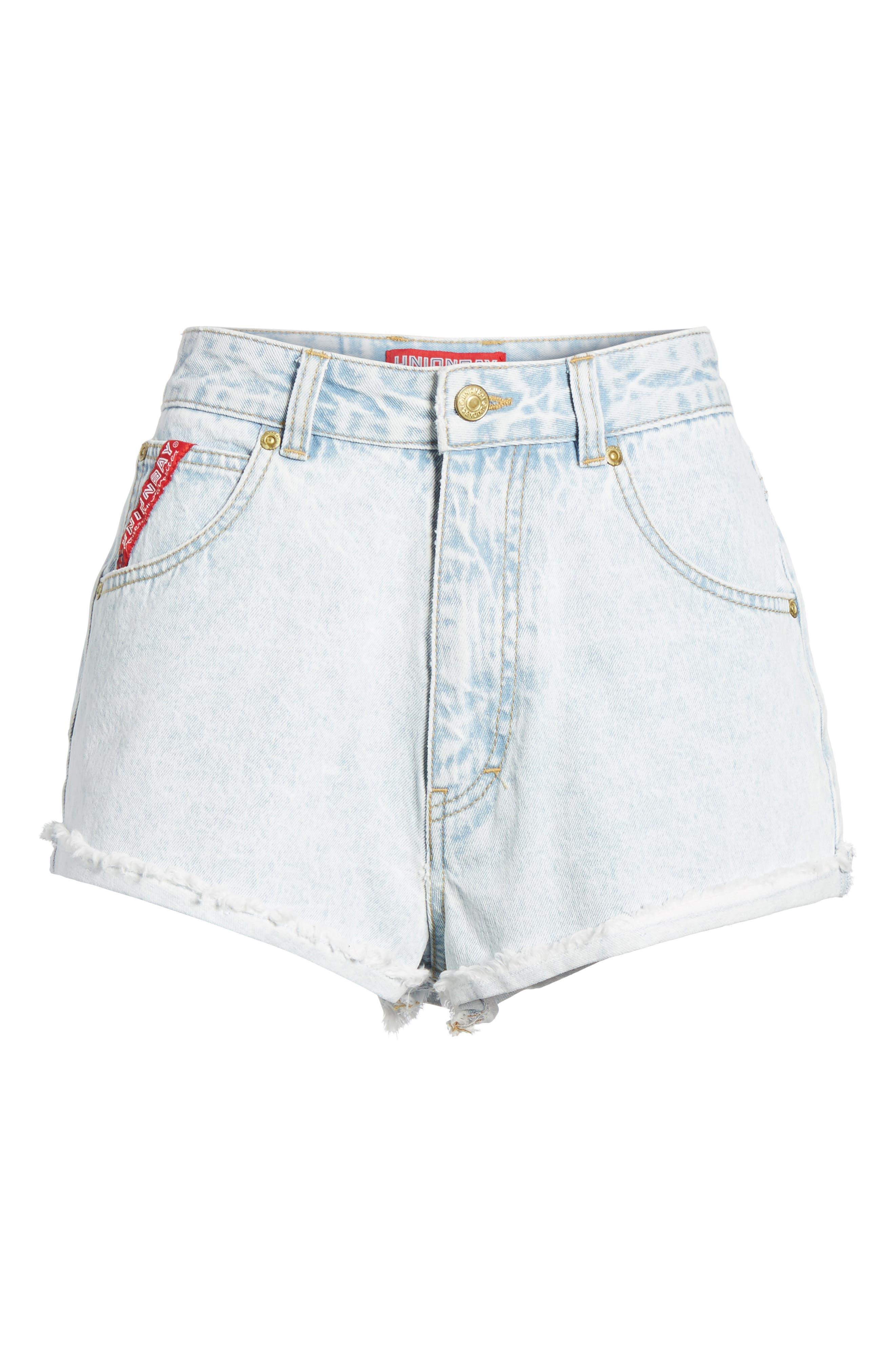 Unionbay Devo Acid Wash Denim Shorts,                             Alternate thumbnail 6, color,                             Icy Wash