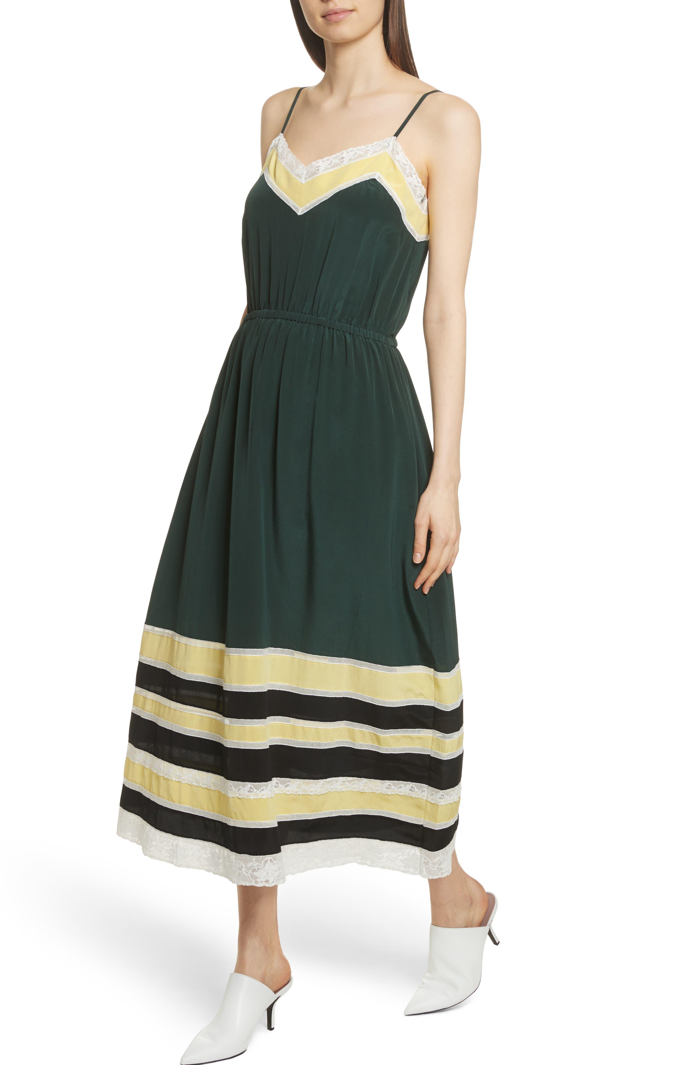 Lace Trim Silk Slipdress,                             Alternate thumbnail 4, color,                             Green Combo