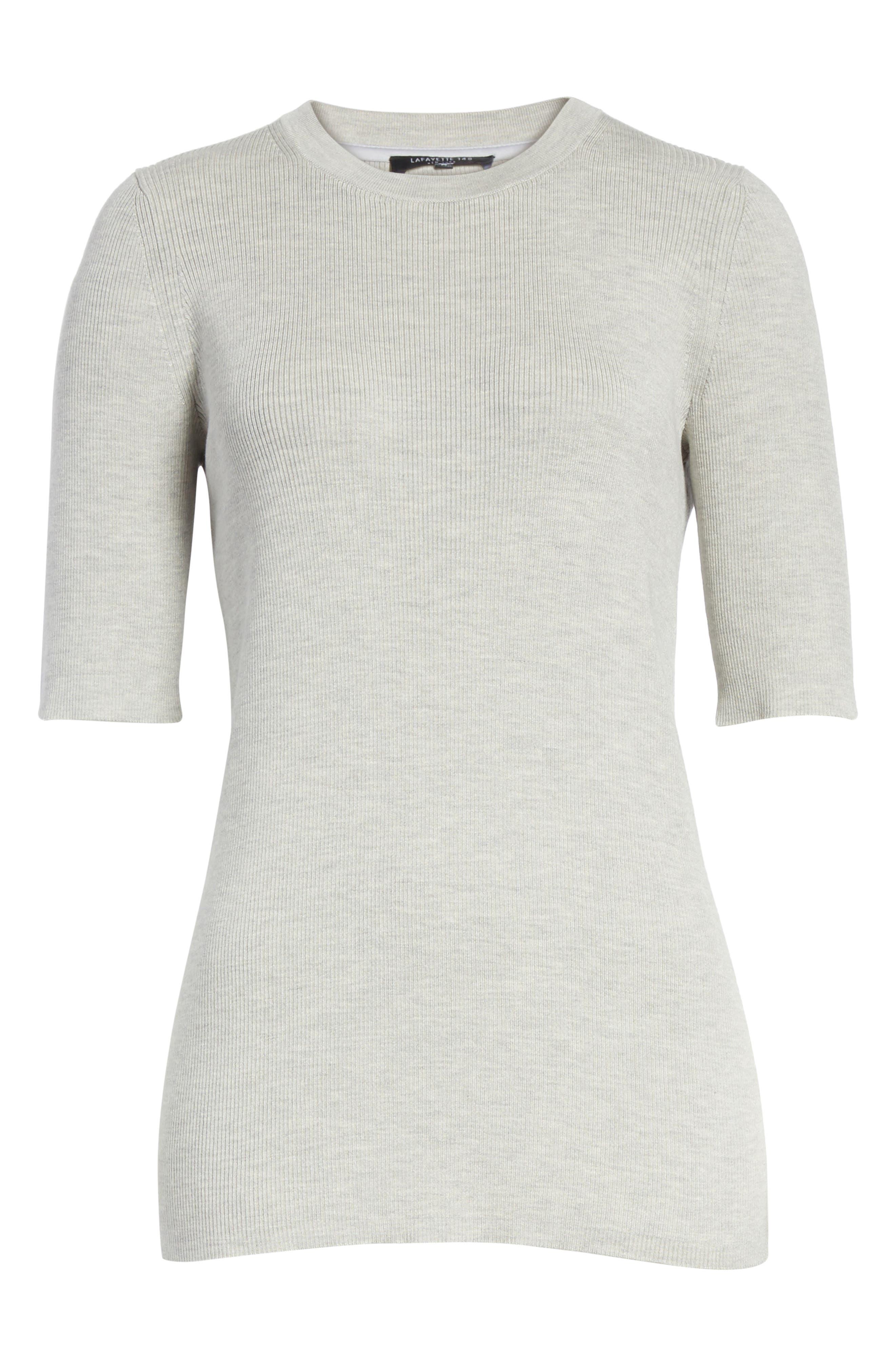 Rib Knit Silk Blend Sweater,                             Alternate thumbnail 6, color,                             Pebble Melange