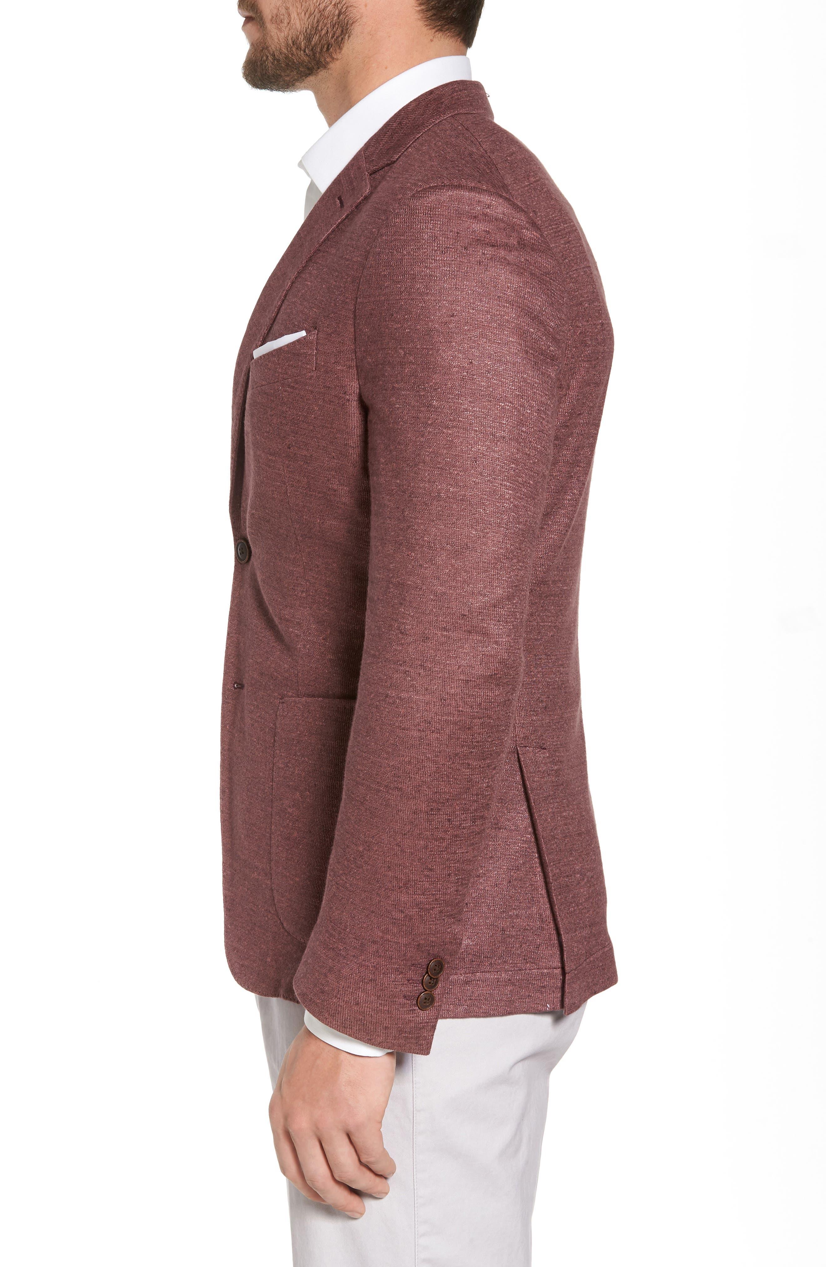 Trim Fit Heathered Jersey Blazer,                             Alternate thumbnail 3, color,                             Wine