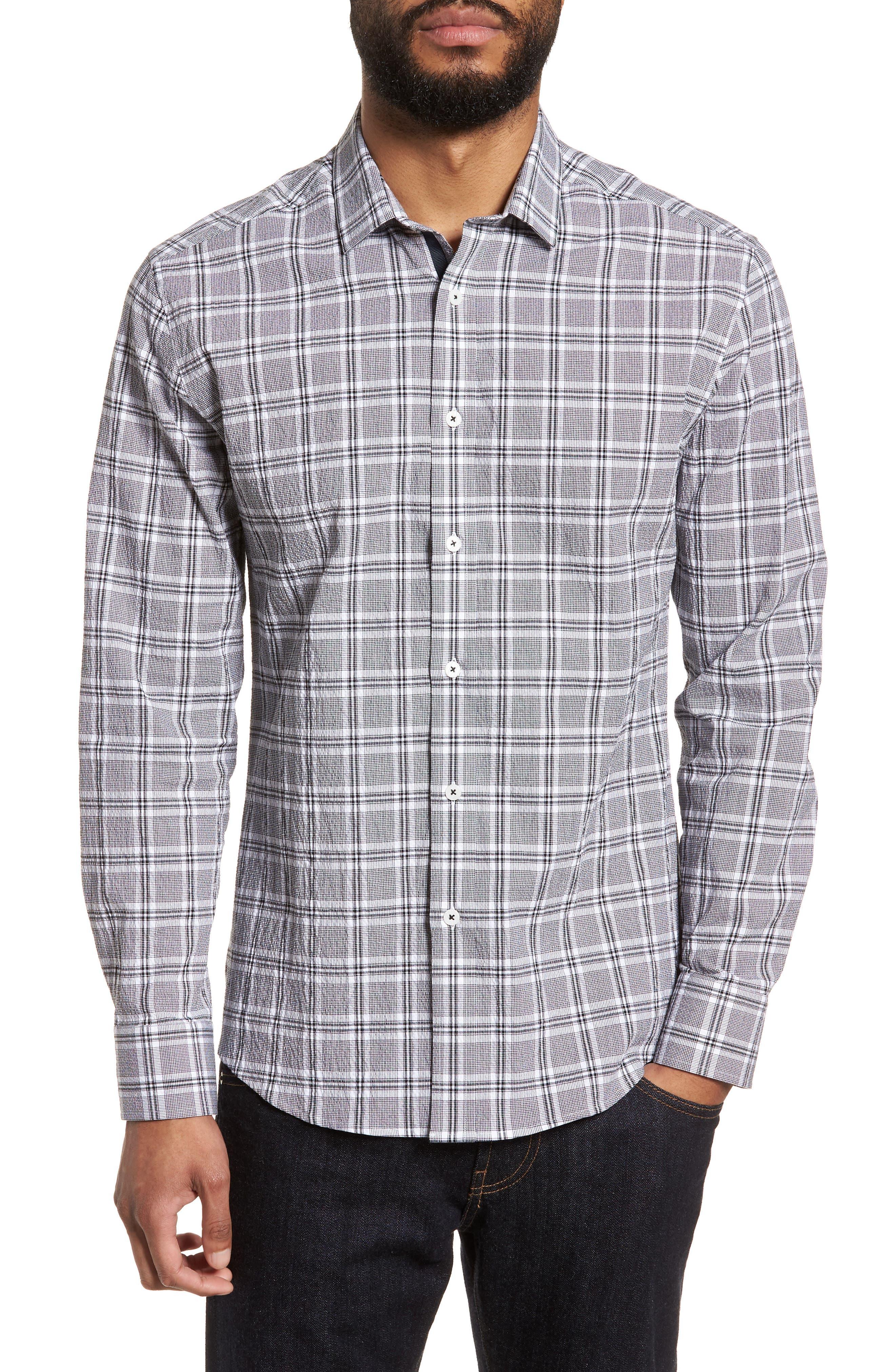 Slim Fit Plaid Seersucker Sport Shirt,                         Main,                         color, Black Seersucker Plaid