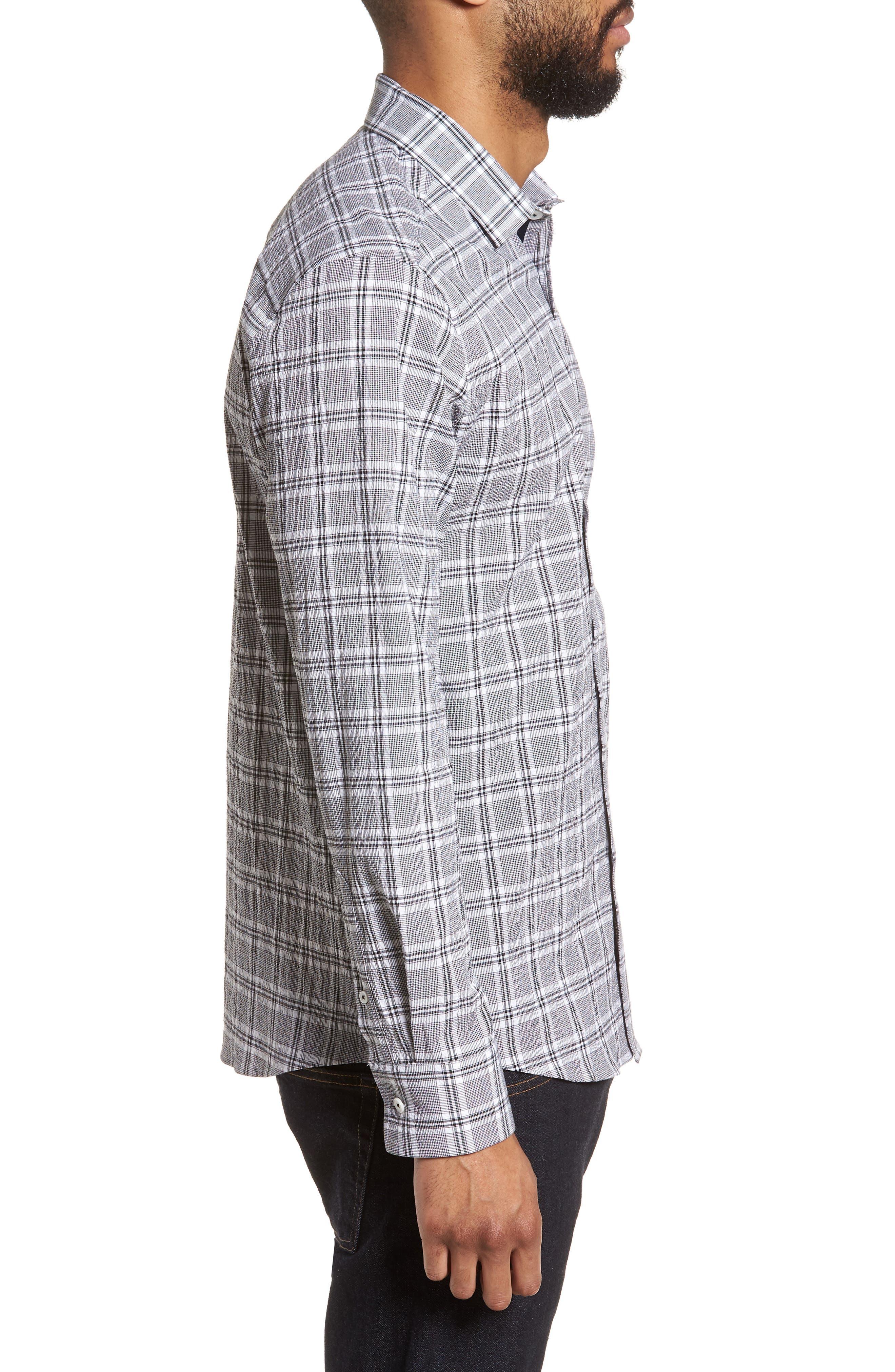 Slim Fit Plaid Seersucker Sport Shirt,                             Alternate thumbnail 3, color,                             Black Seersucker Plaid