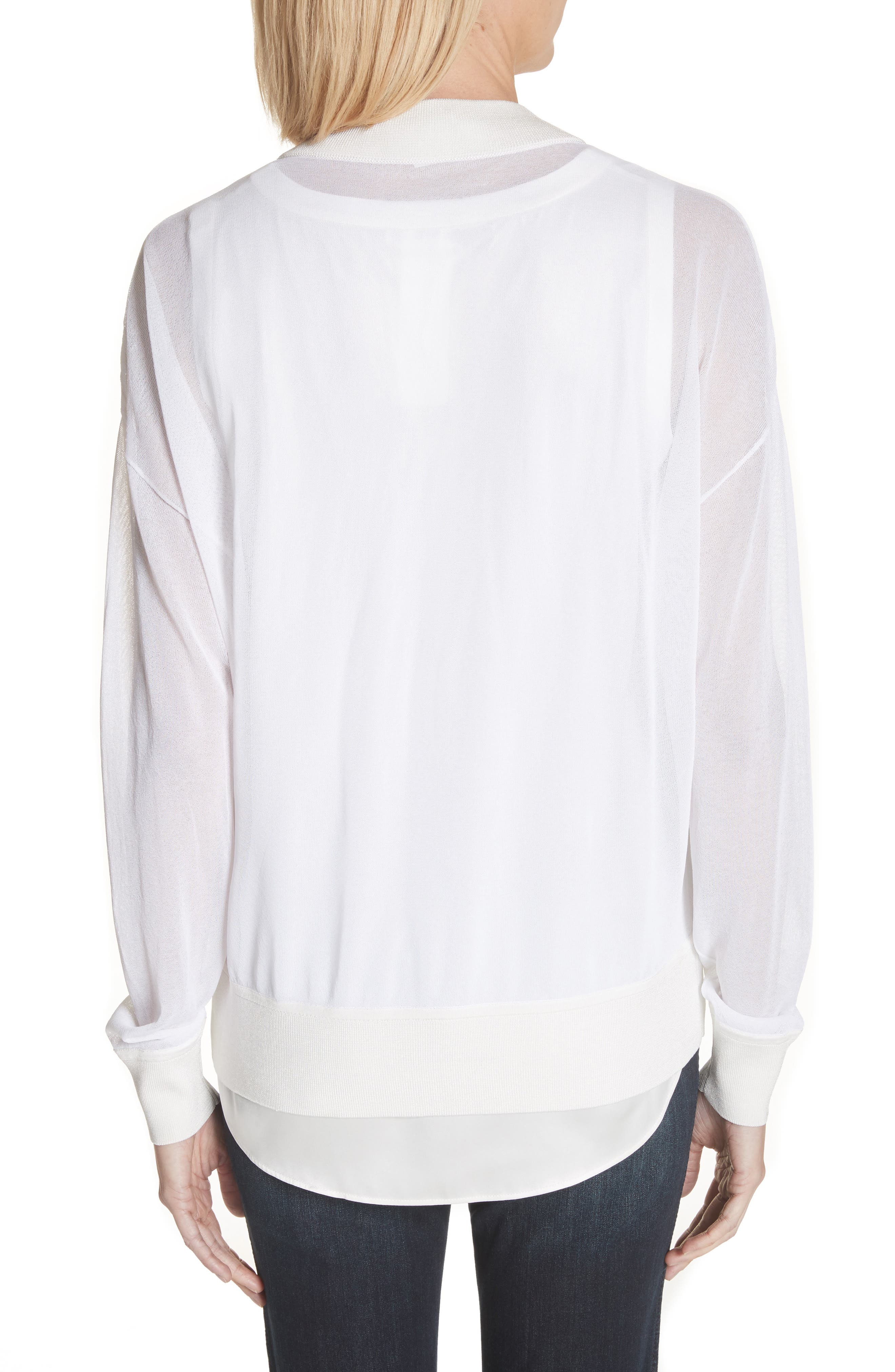 Ethereal Sheer Knit Bomber Jacket,                             Alternate thumbnail 2, color,                             White