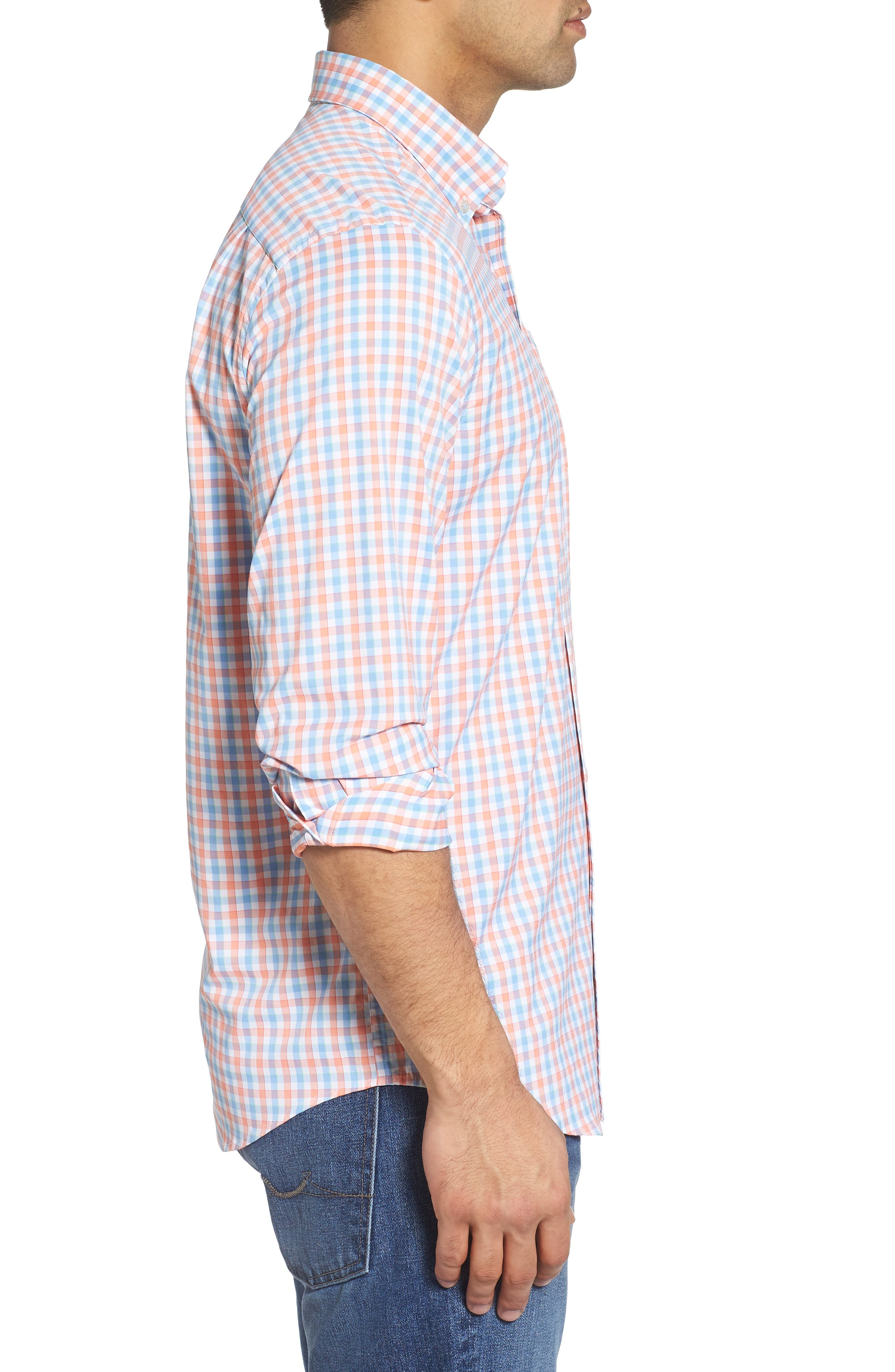 Market Square Regular Fit Stretch Check Sport Shirt,                             Alternate thumbnail 3, color,                             Nectar Coral