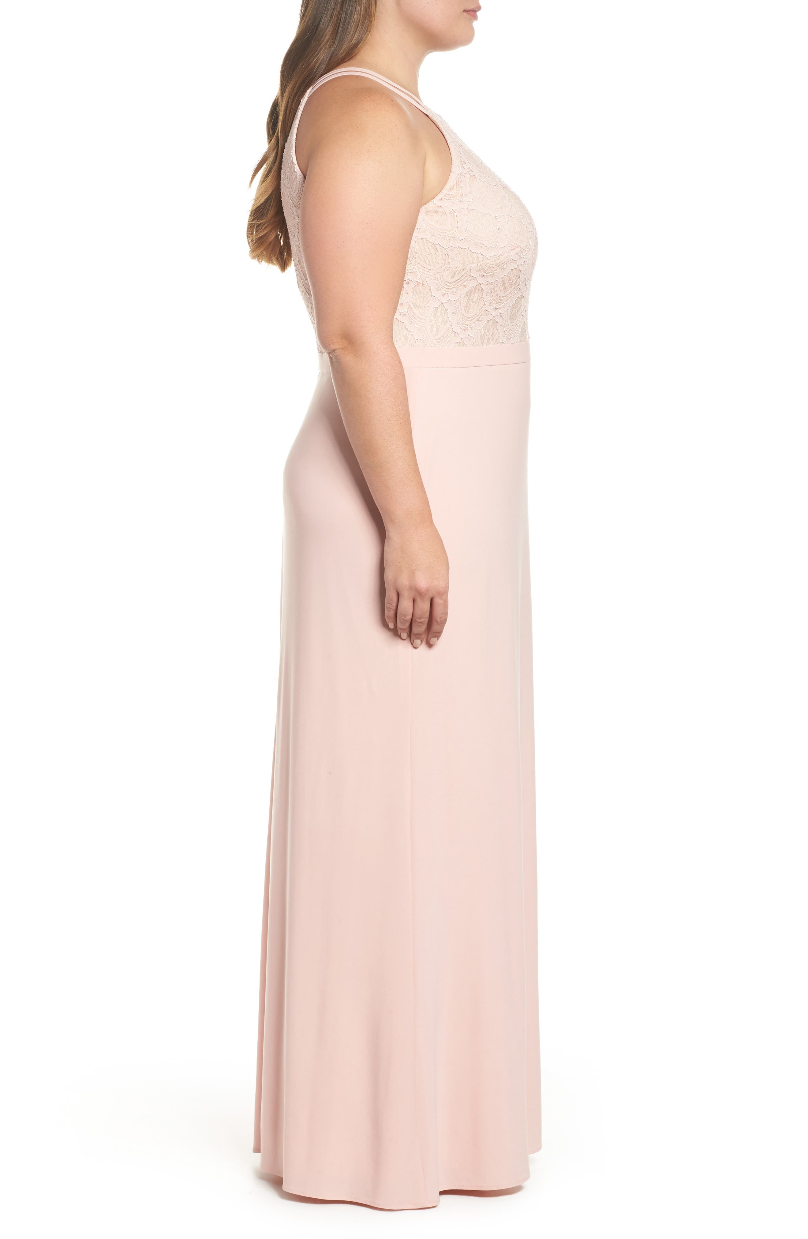 Lace Bodice Gown,                             Alternate thumbnail 3, color,                             Blush/ Nude