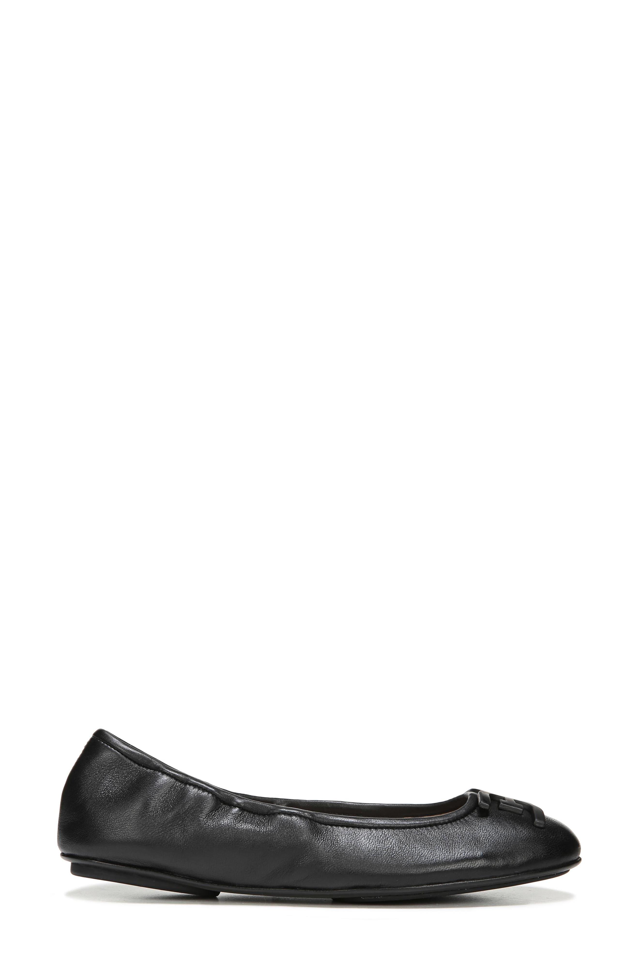 Florence Ballet Flat,                             Alternate thumbnail 3, color,                             Black Leather