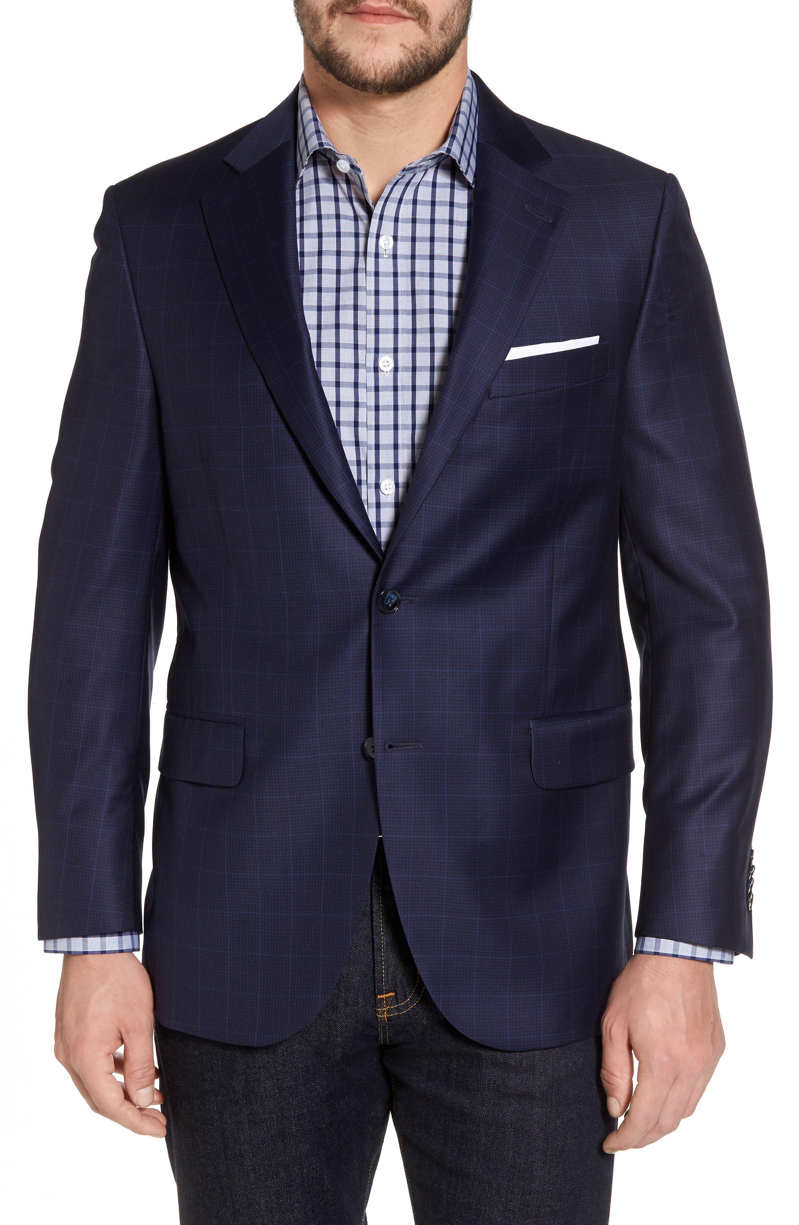 Classic Fit Windowpane Wool Sport Coat,                         Main,                         color, Navy