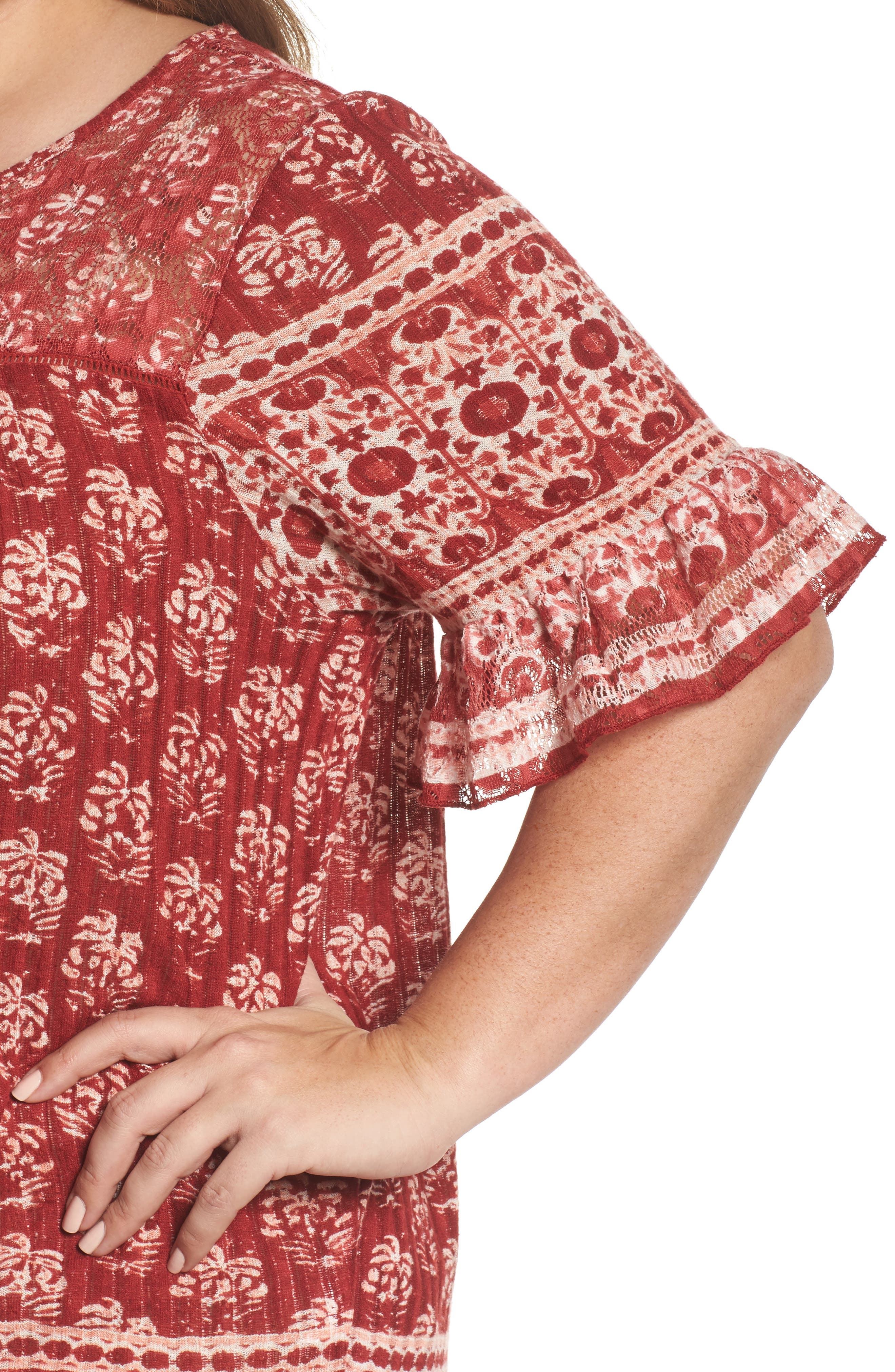 Alternate Image 4  - Lucky Brand Print Top (Plus Size)