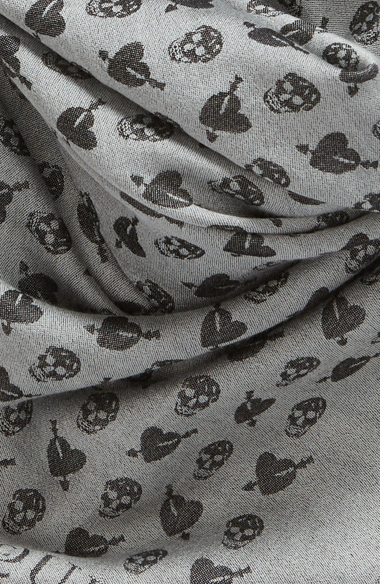 Mini Heart Skull Wool & Silk Shawl,                             Alternate thumbnail 4, color,                             Ivory/ Black