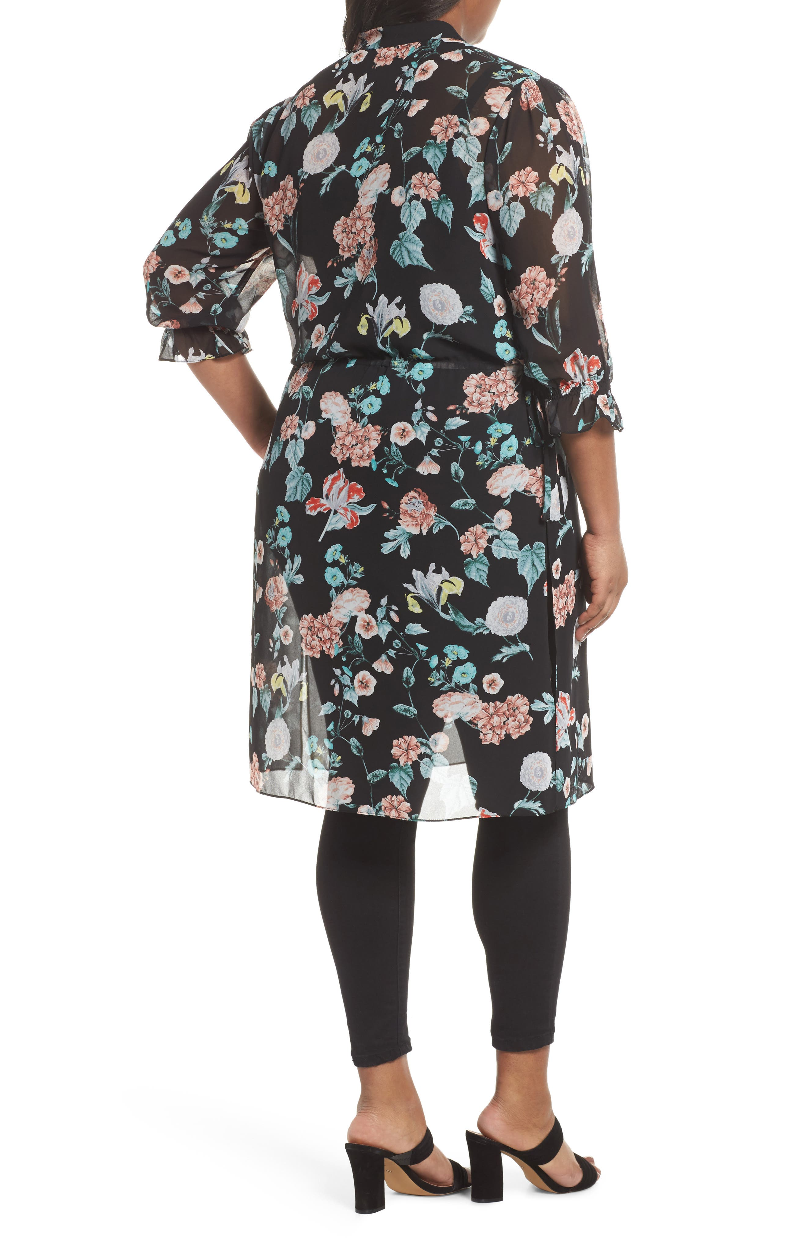 Faded Blooms Tunic Dress,                             Alternate thumbnail 2, color,                             Rich Black