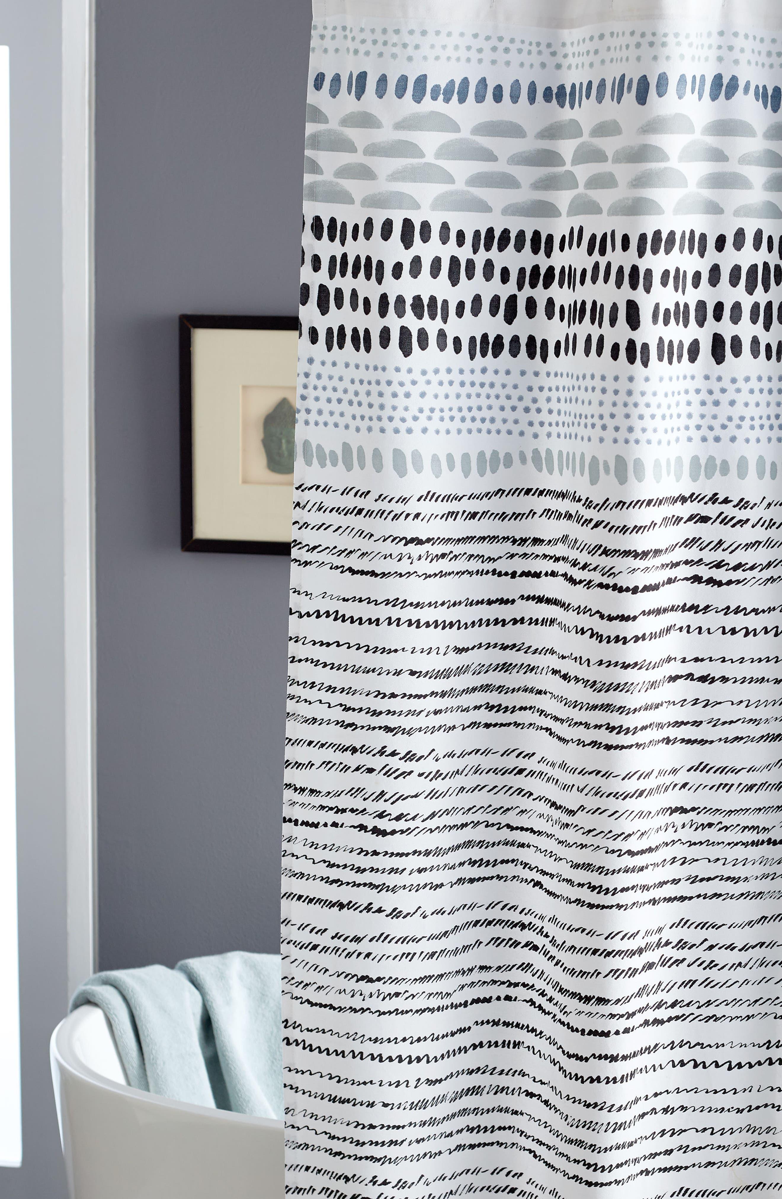 Vibe Shower Curtain,                             Alternate thumbnail 3, color,                             Black/ White