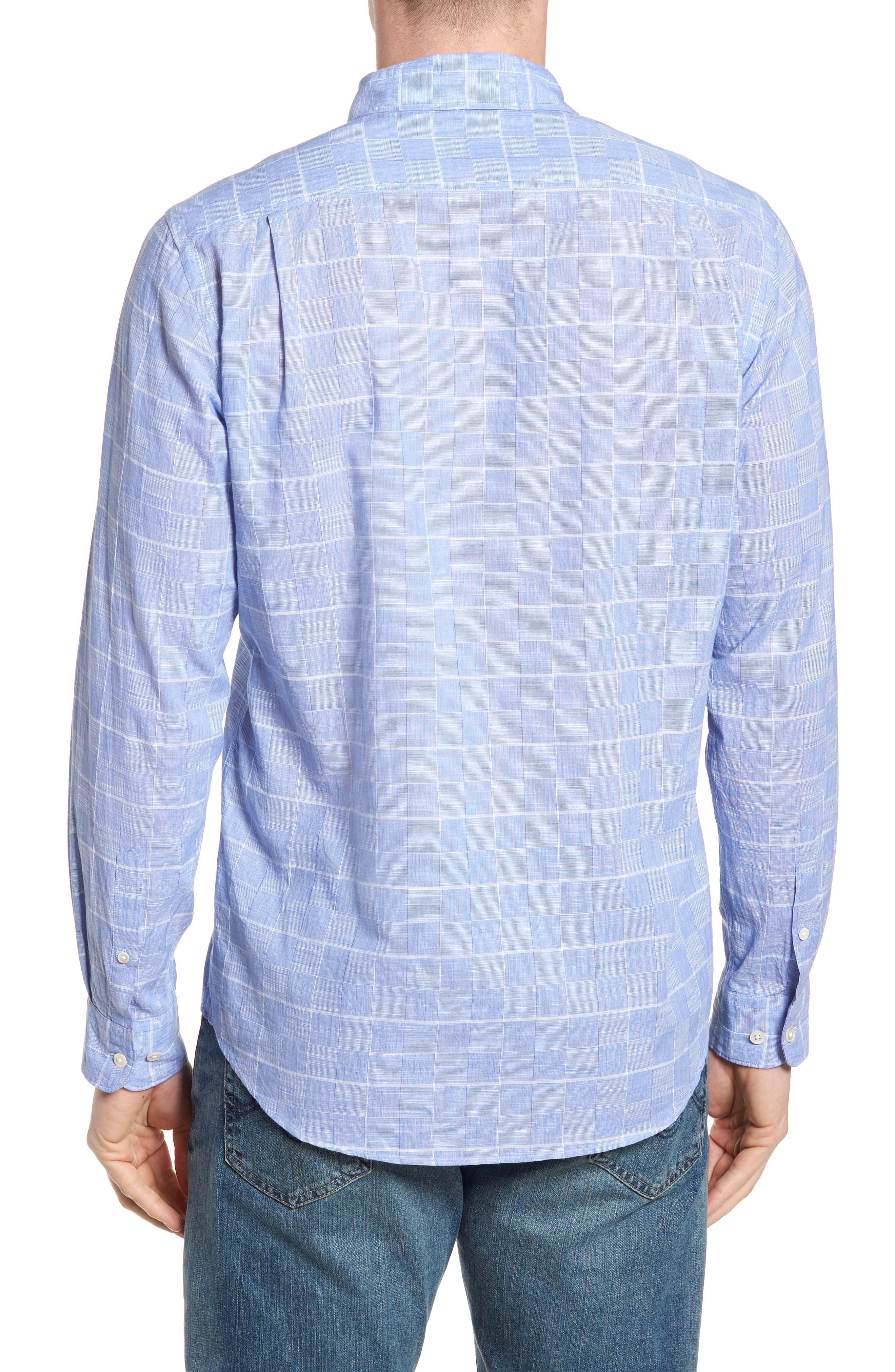 Tussock Creek Regular Fit Check Sport Shirt,                             Alternate thumbnail 3, color,                             Azure