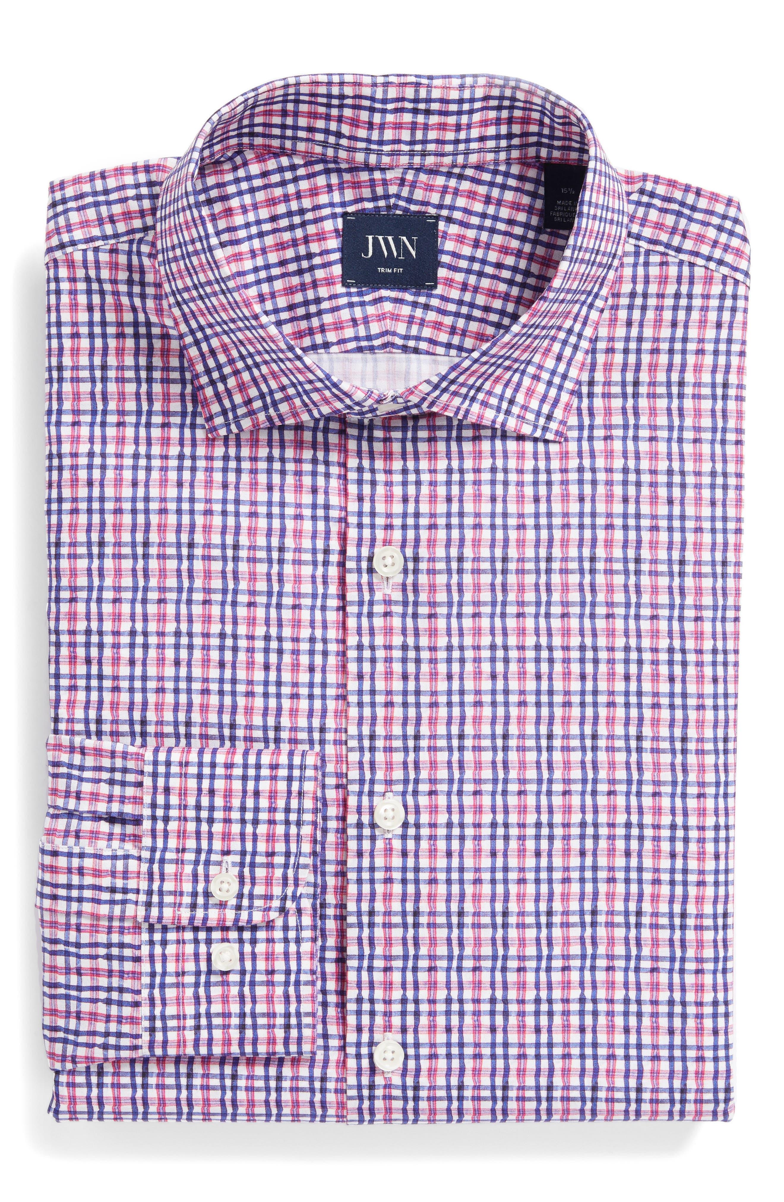 Trim Fit Plaid Dress Shirt,                             Alternate thumbnail 6, color,                             Pink Raspberry