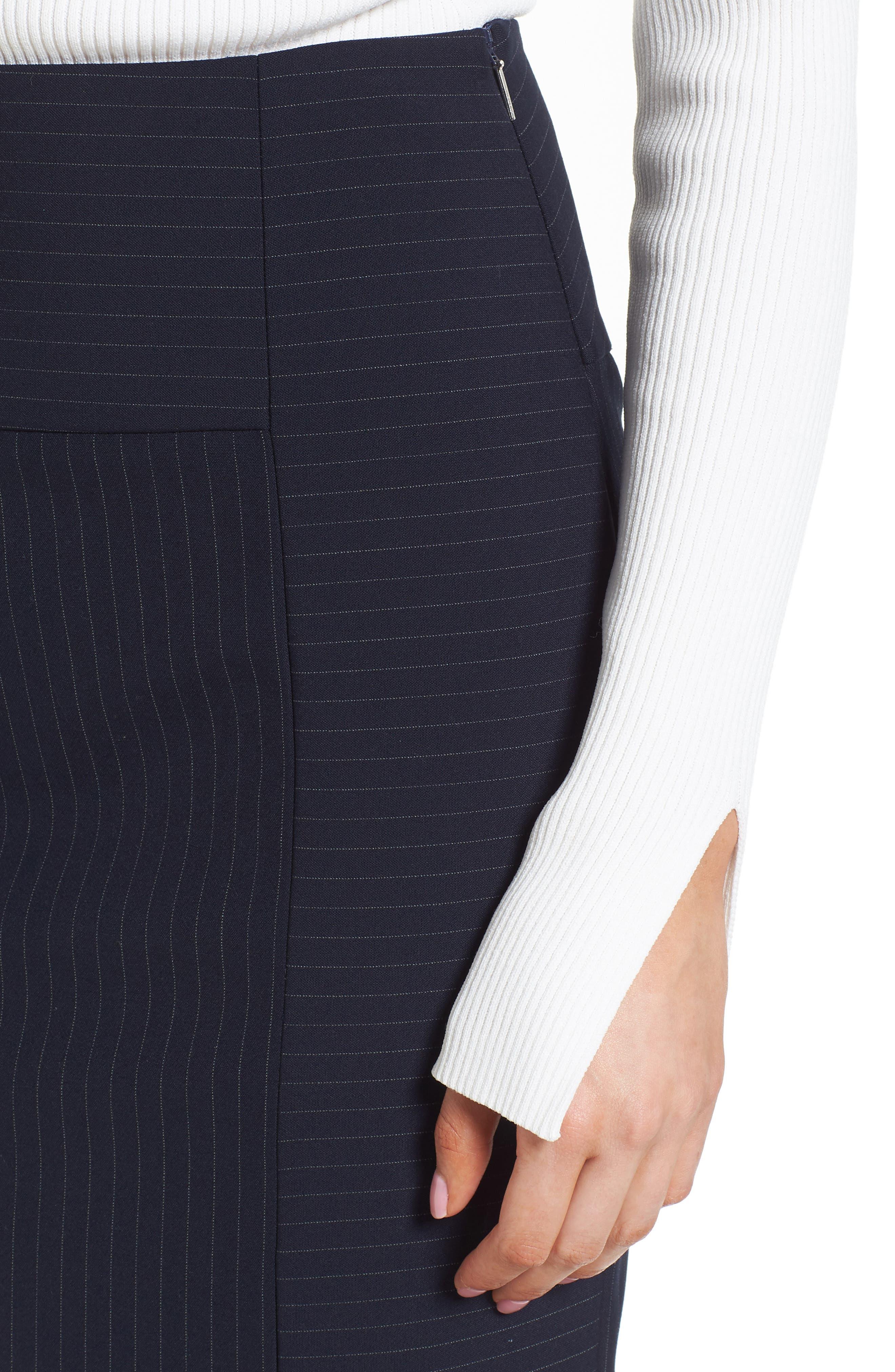 Vispana Pinstripe Suit Skirt,                             Alternate thumbnail 4, color,                             Nautical Fantasy