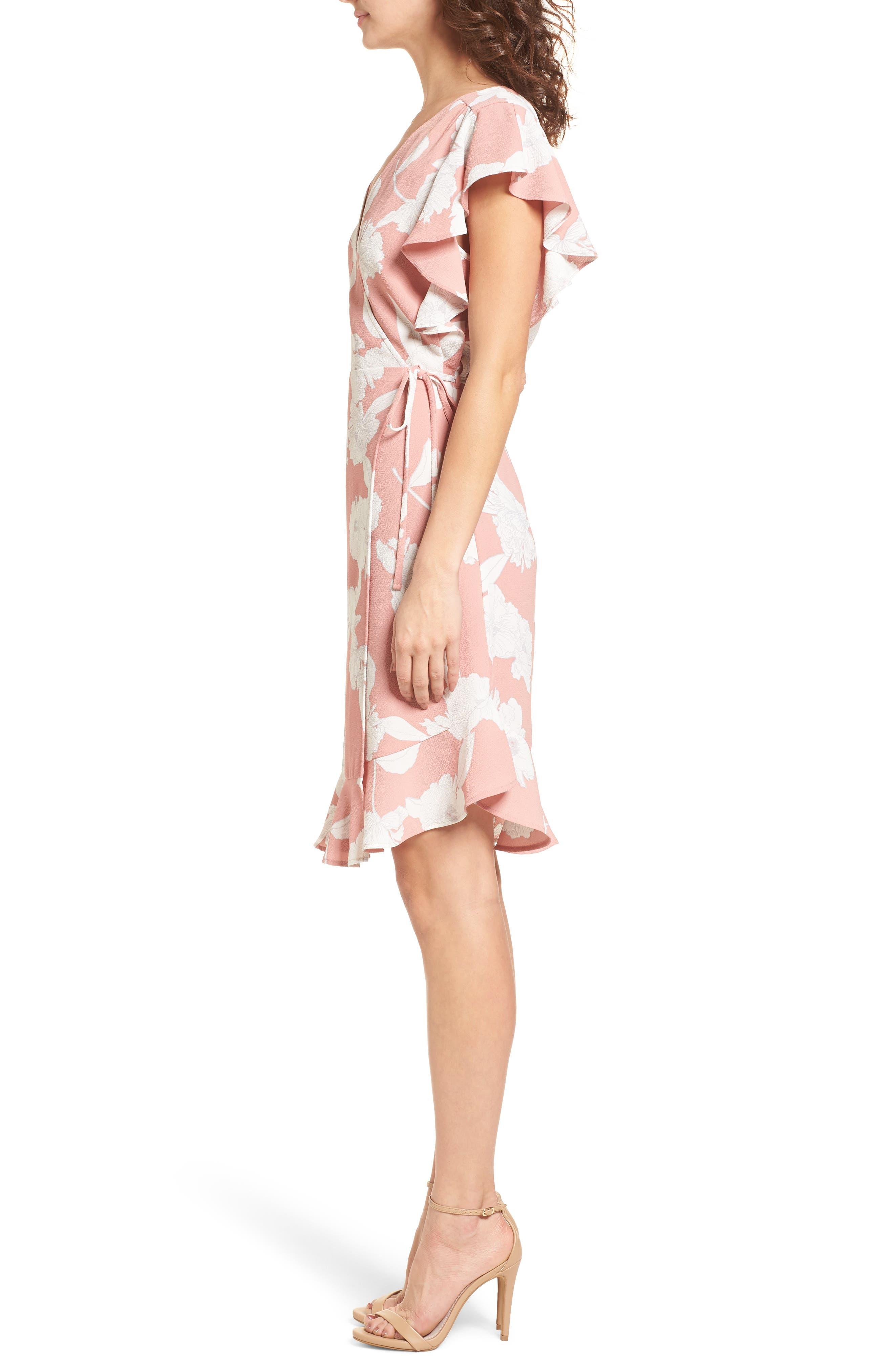 Ruffle Wrap Dress,                             Alternate thumbnail 3, color,                             Blush/ Ivory