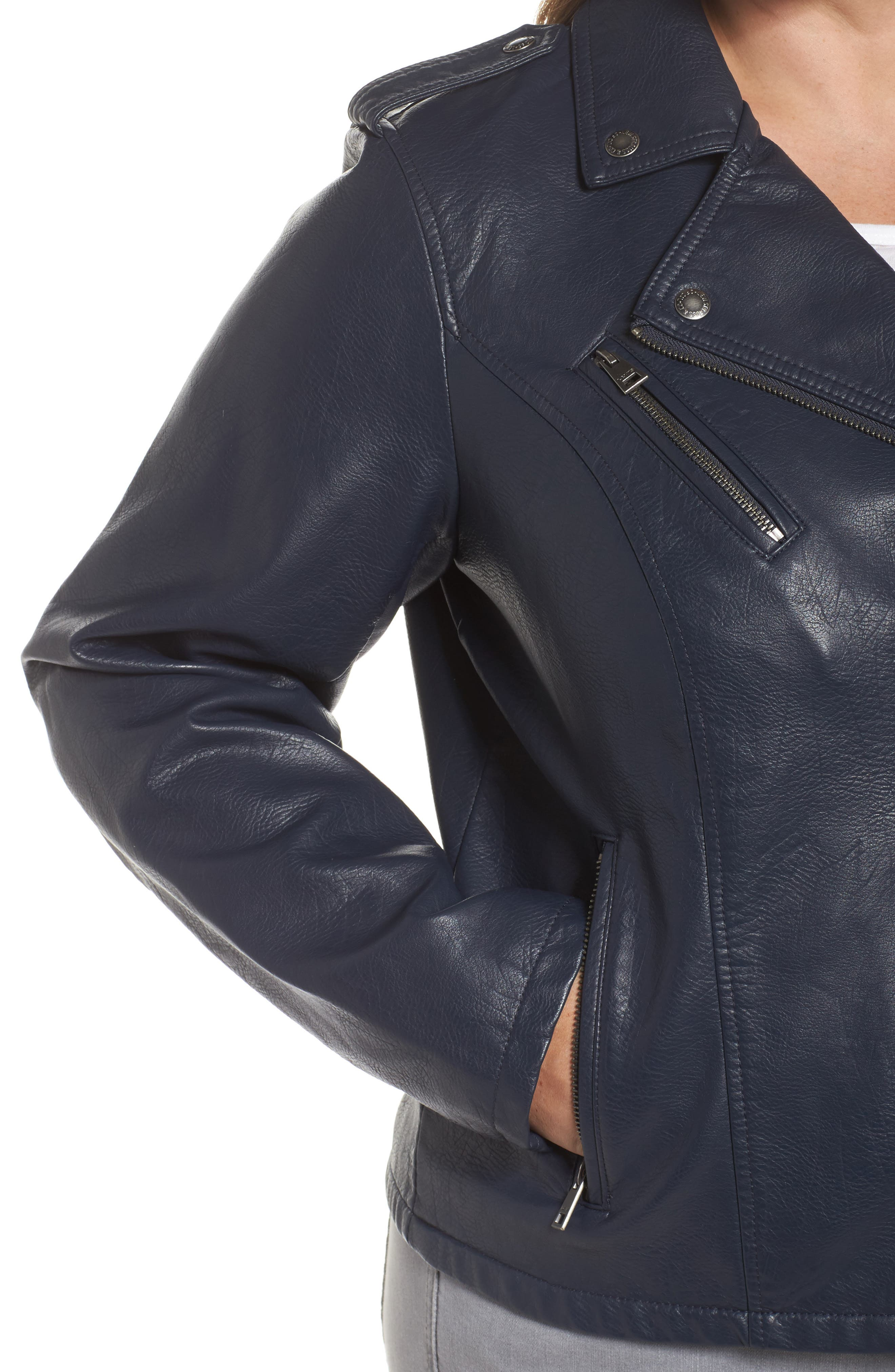 Faux Leather Jacket,                             Alternate thumbnail 4, color,                             Navy