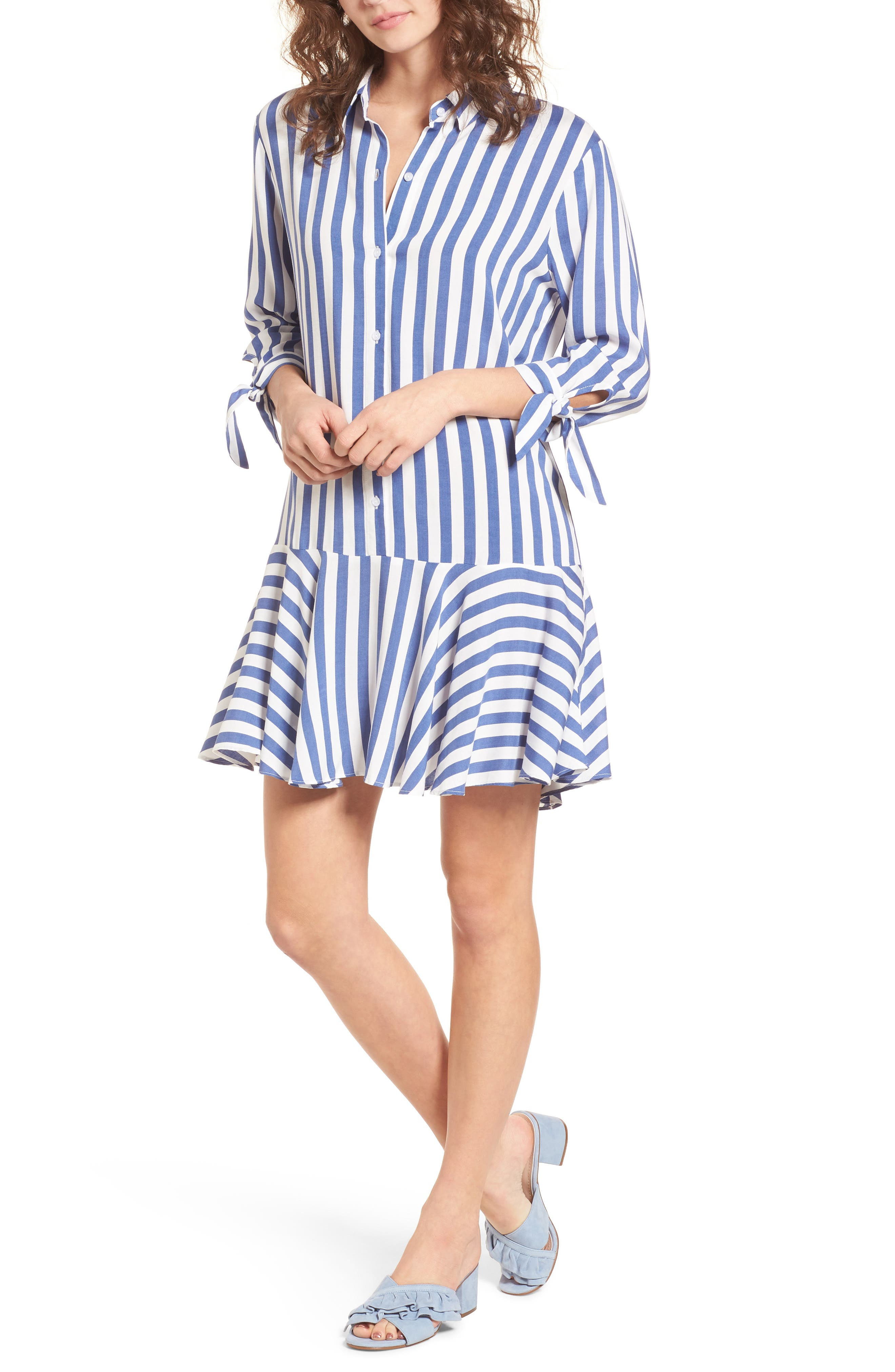 Drop Waist Shirtdress,                             Main thumbnail 1, color,                             Blue/ White