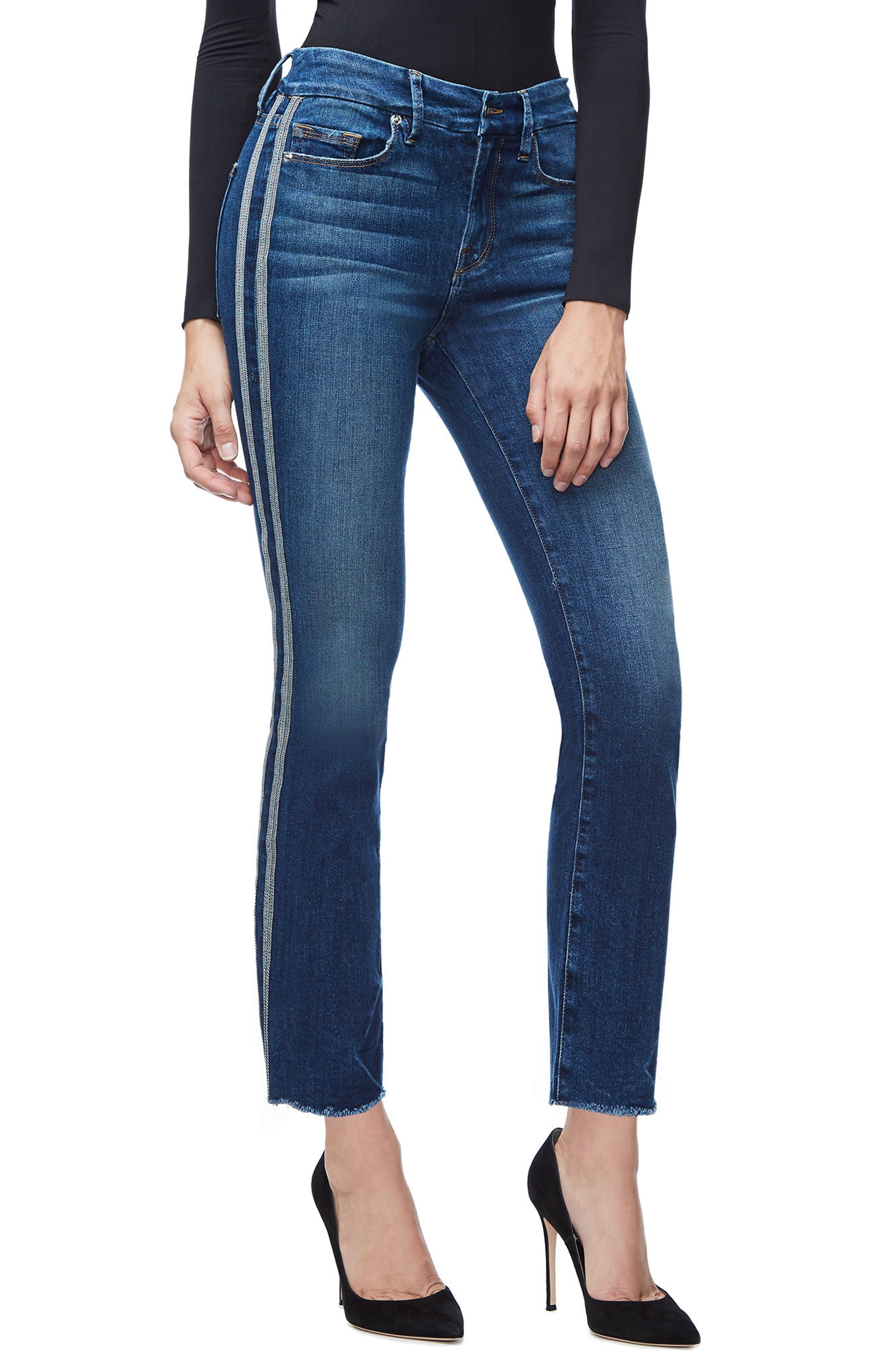 Good Straight Athletic Stripe High Waist Straight Leg Jeans,                             Main thumbnail 1, color,                             Blue122