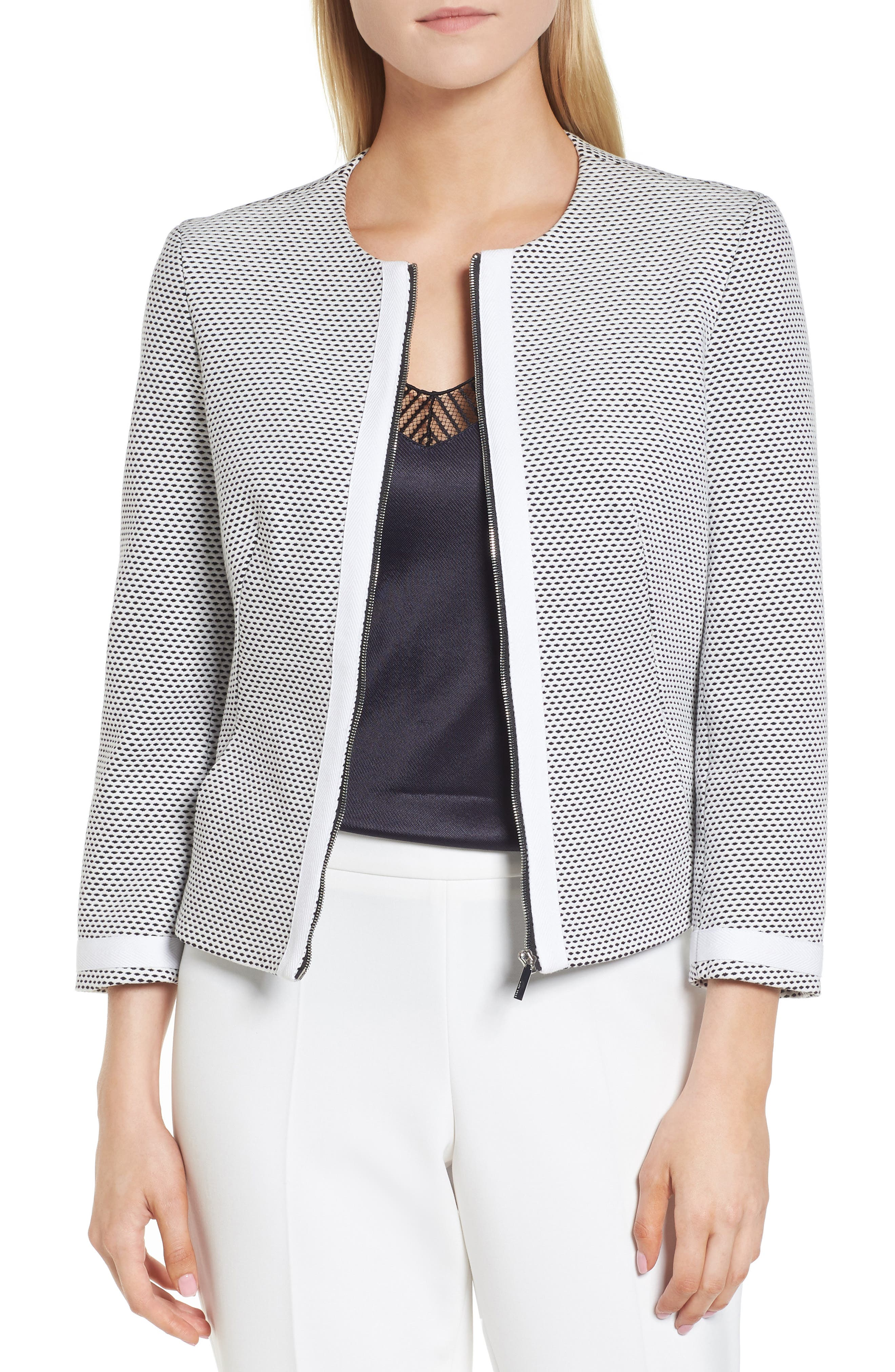 BOSS Kaily Cotton Jacquard Crop Jacket (Regular & Petite)