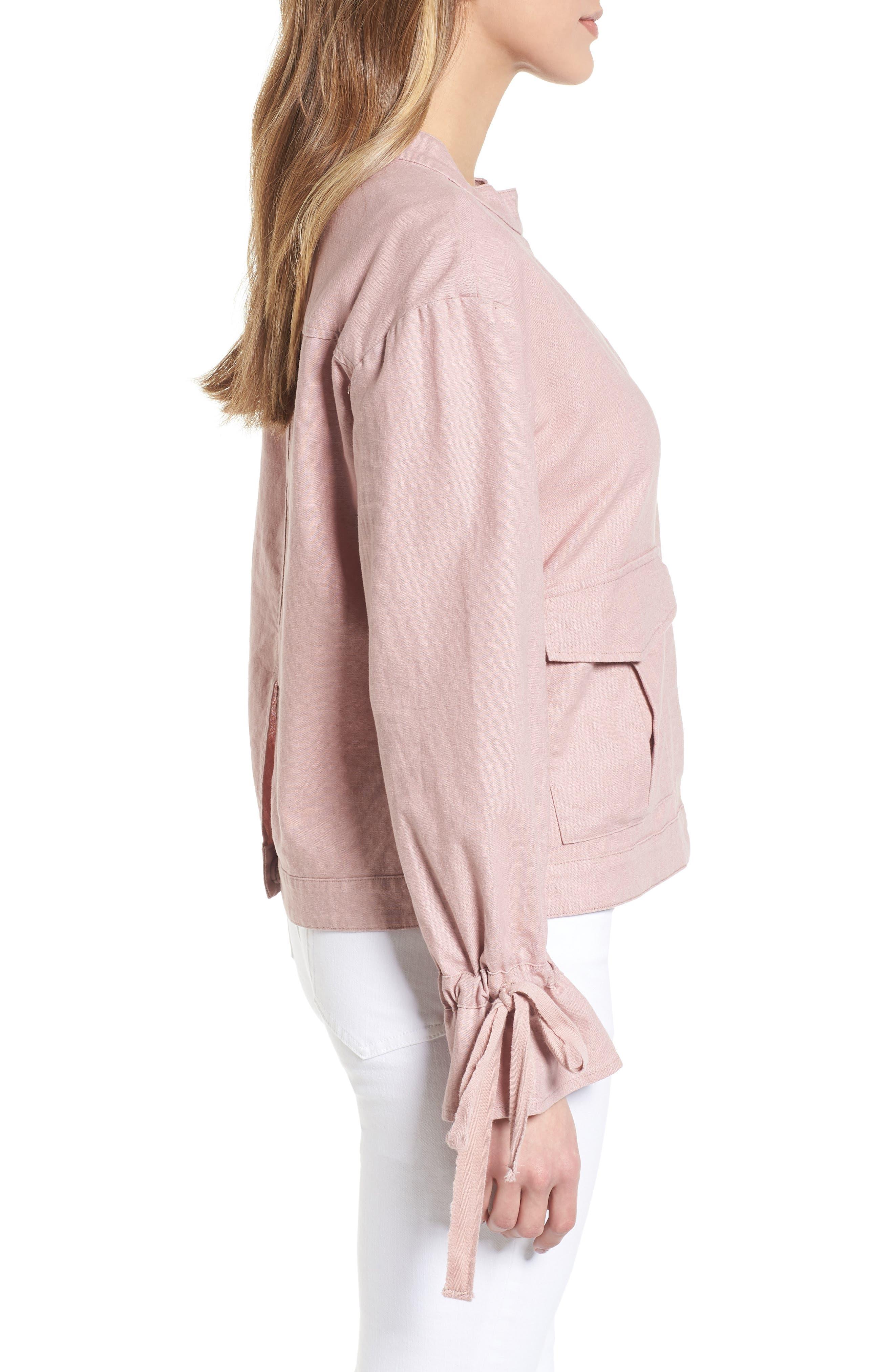 Tie Sleeve Linen & Cotton Jacket,                             Alternate thumbnail 3, color,                             Pink Adobe