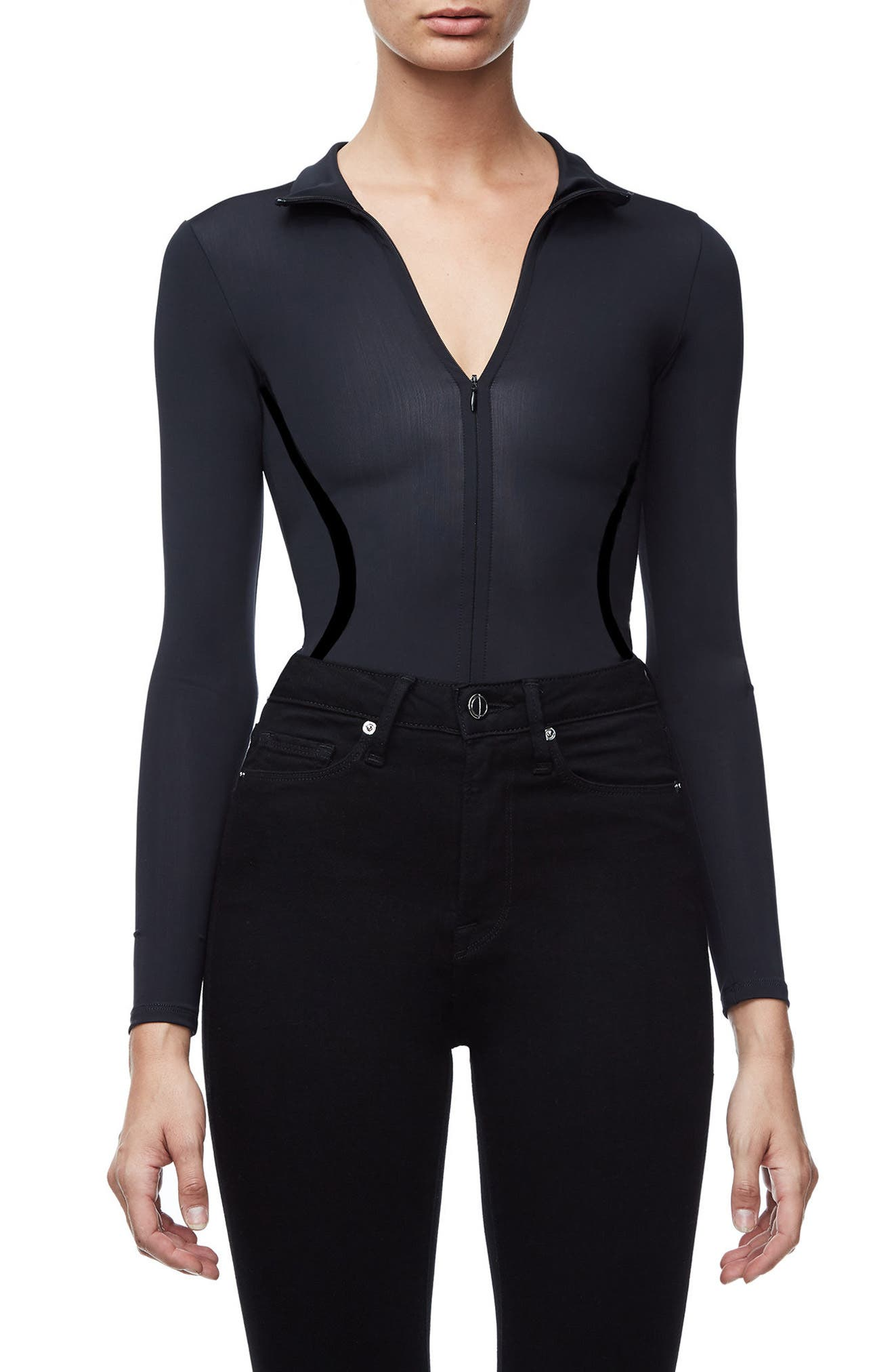 The Slightly Scuba Thong Bodysuit,                             Main thumbnail 1, color,                             Black001