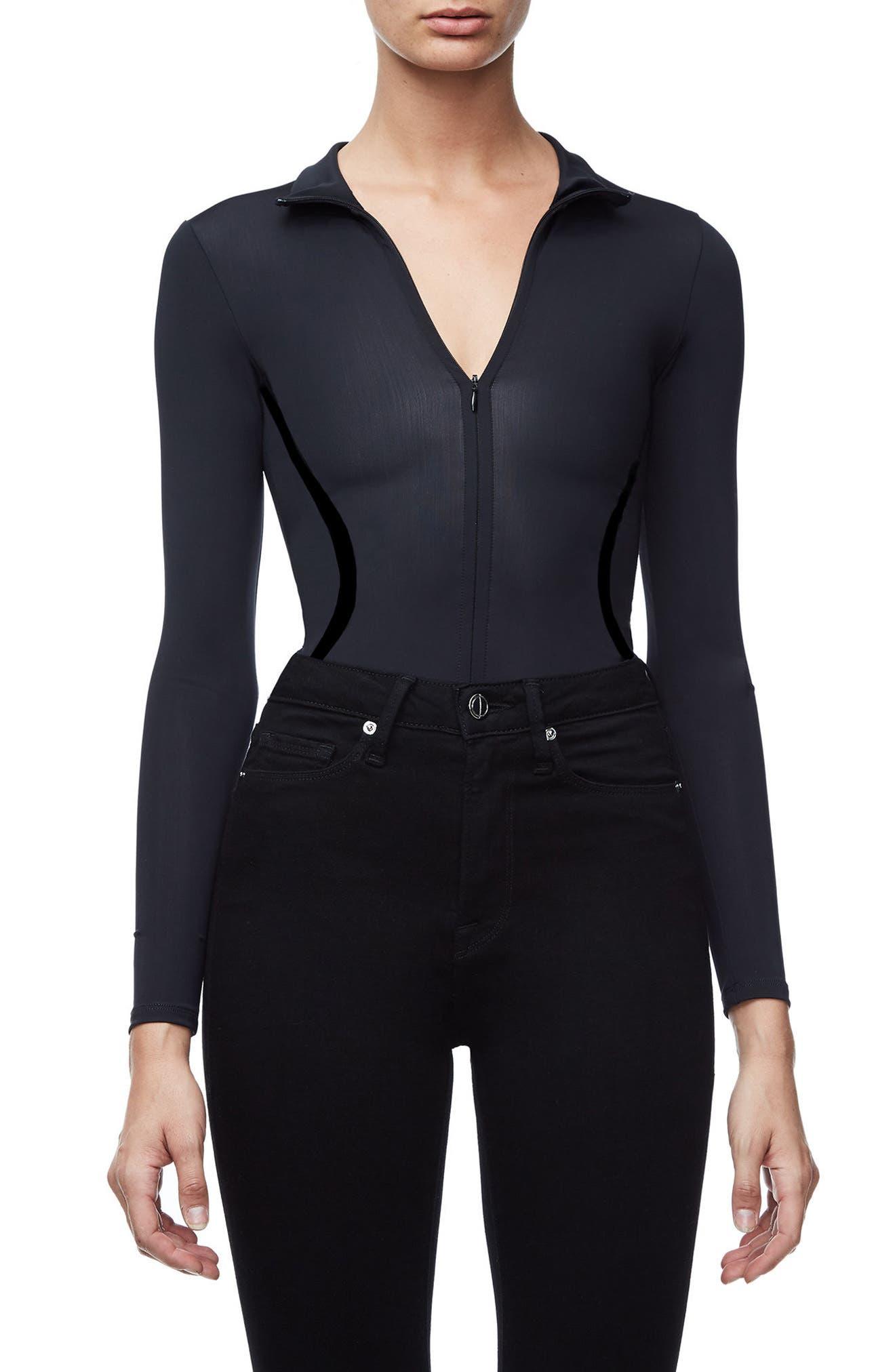 The Slightly Scuba Thong Bodysuit,                         Main,                         color, Black001