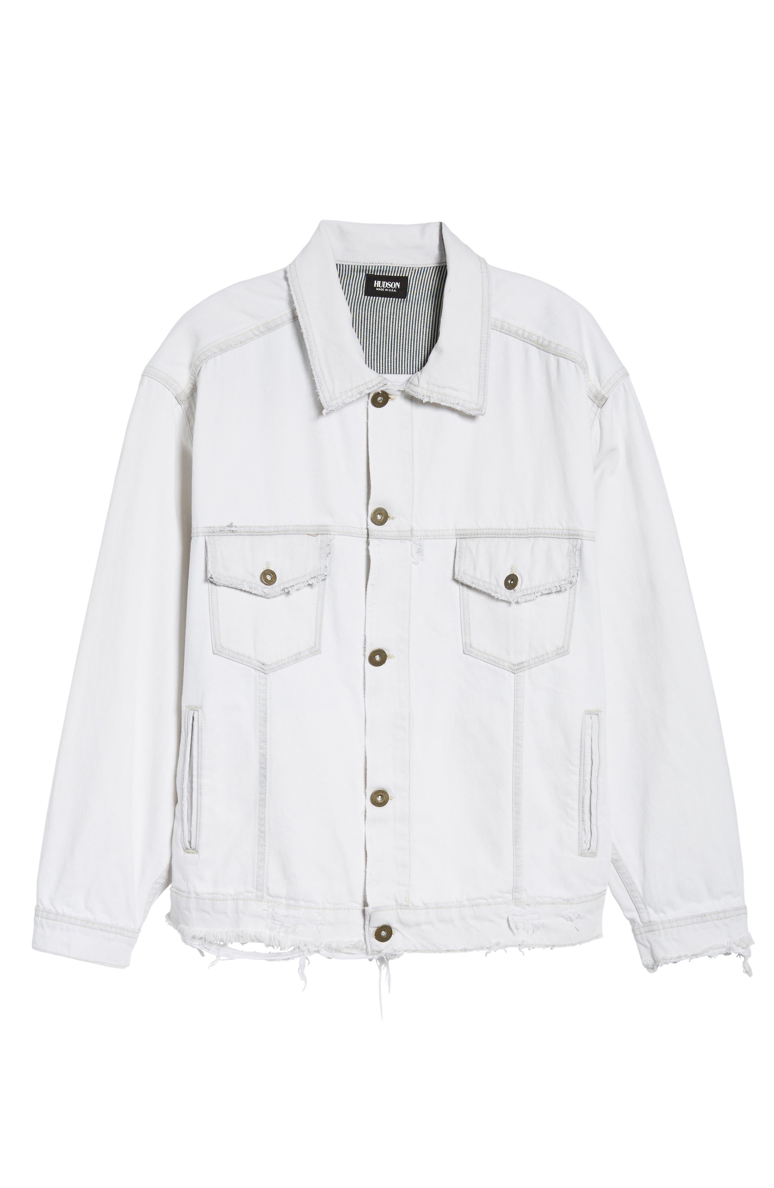 Hudson Denim Trucker Jacket,                             Alternate thumbnail 6, color,                             Extracted White