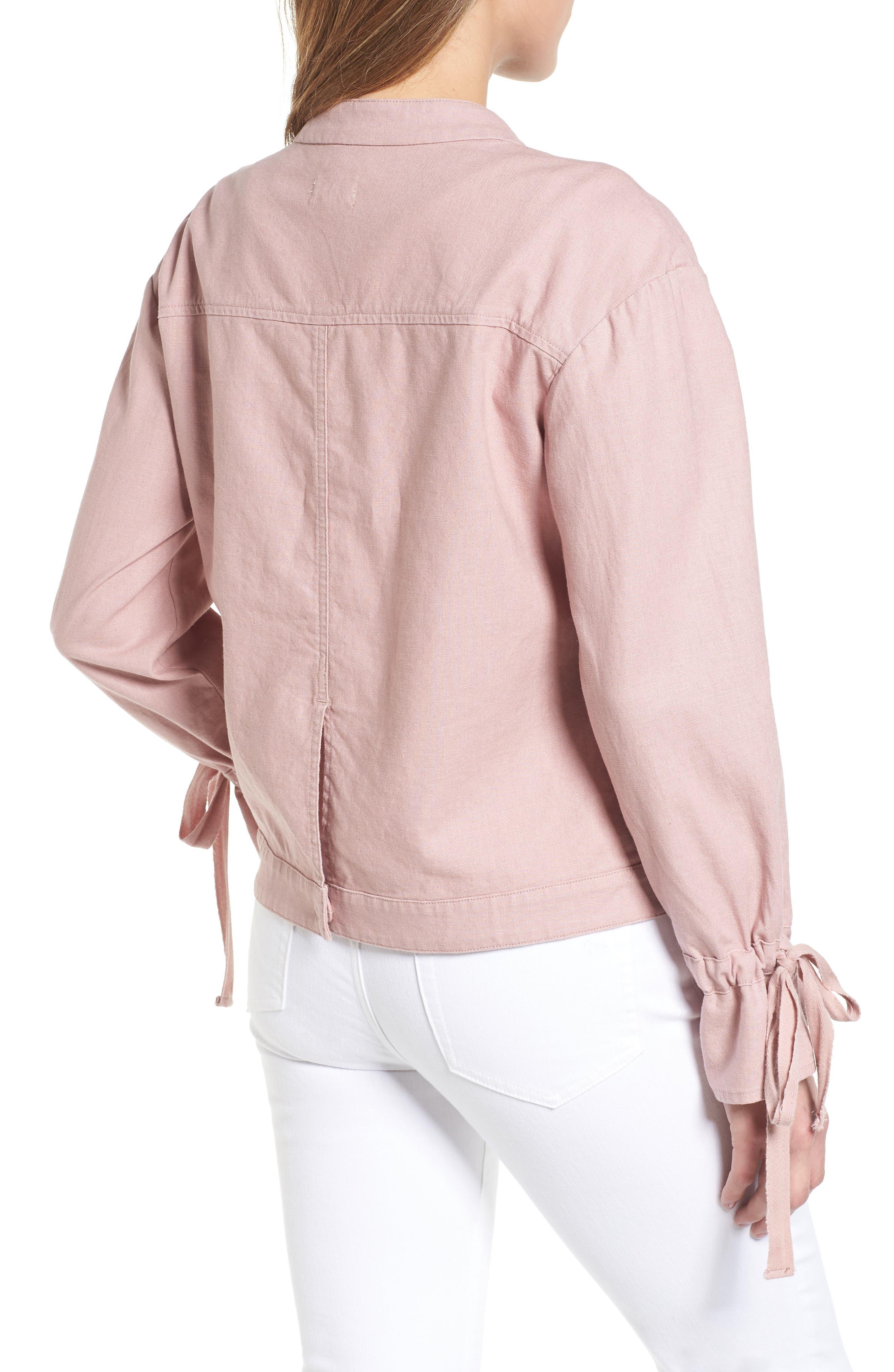 Tie Sleeve Linen & Cotton Jacket,                             Alternate thumbnail 2, color,                             Pink Adobe