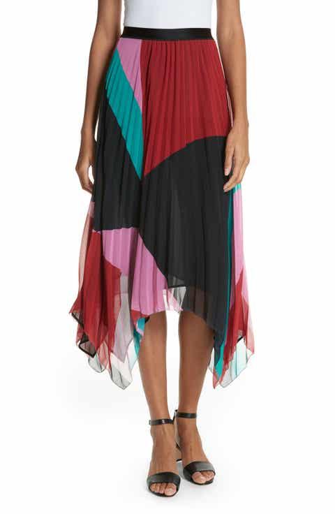 Joie Dashiella Colorblock Pleated Chiffon Skirt
