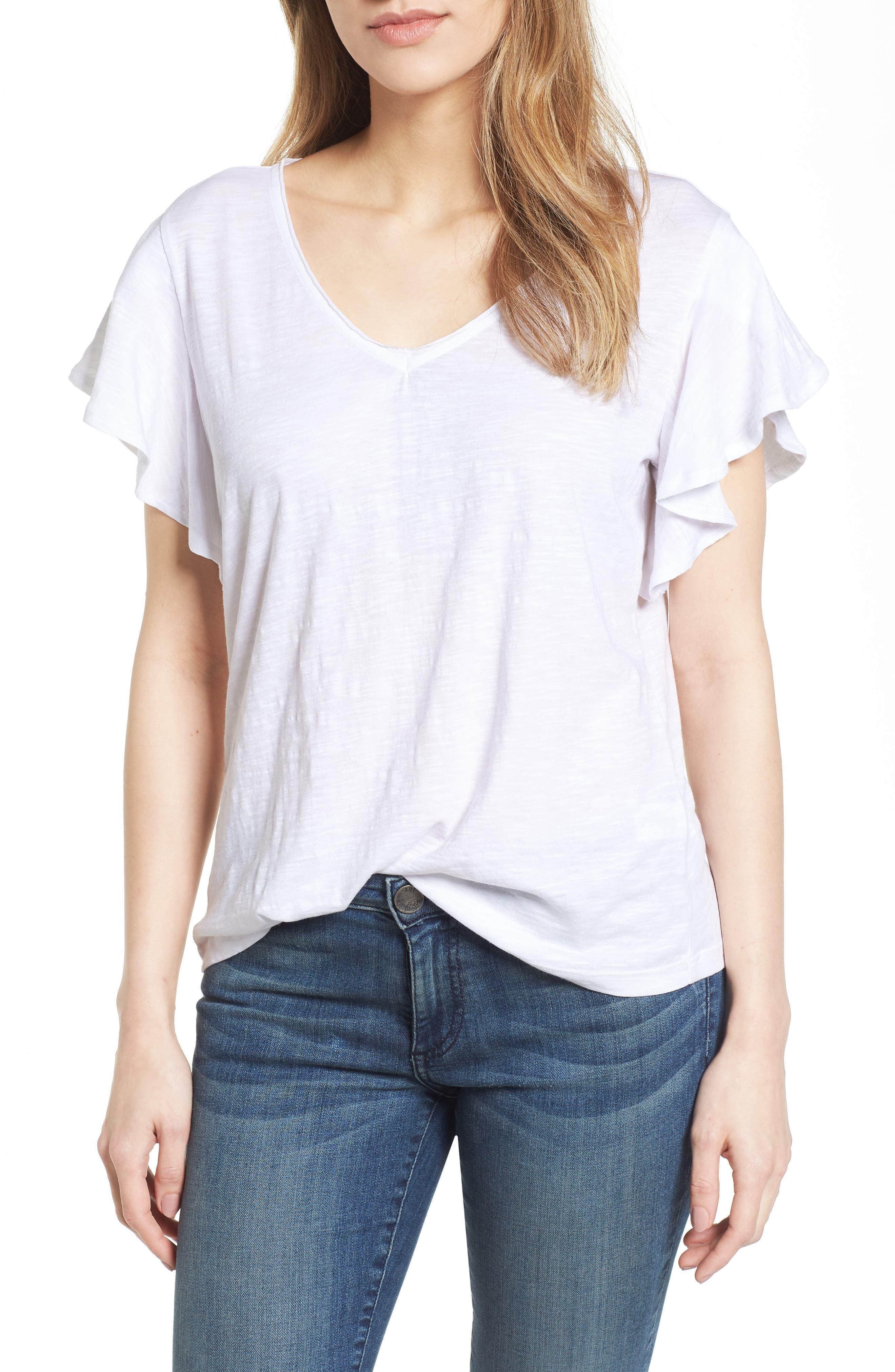 Flounce Short Sleeve Tee,                         Main,                         color, White