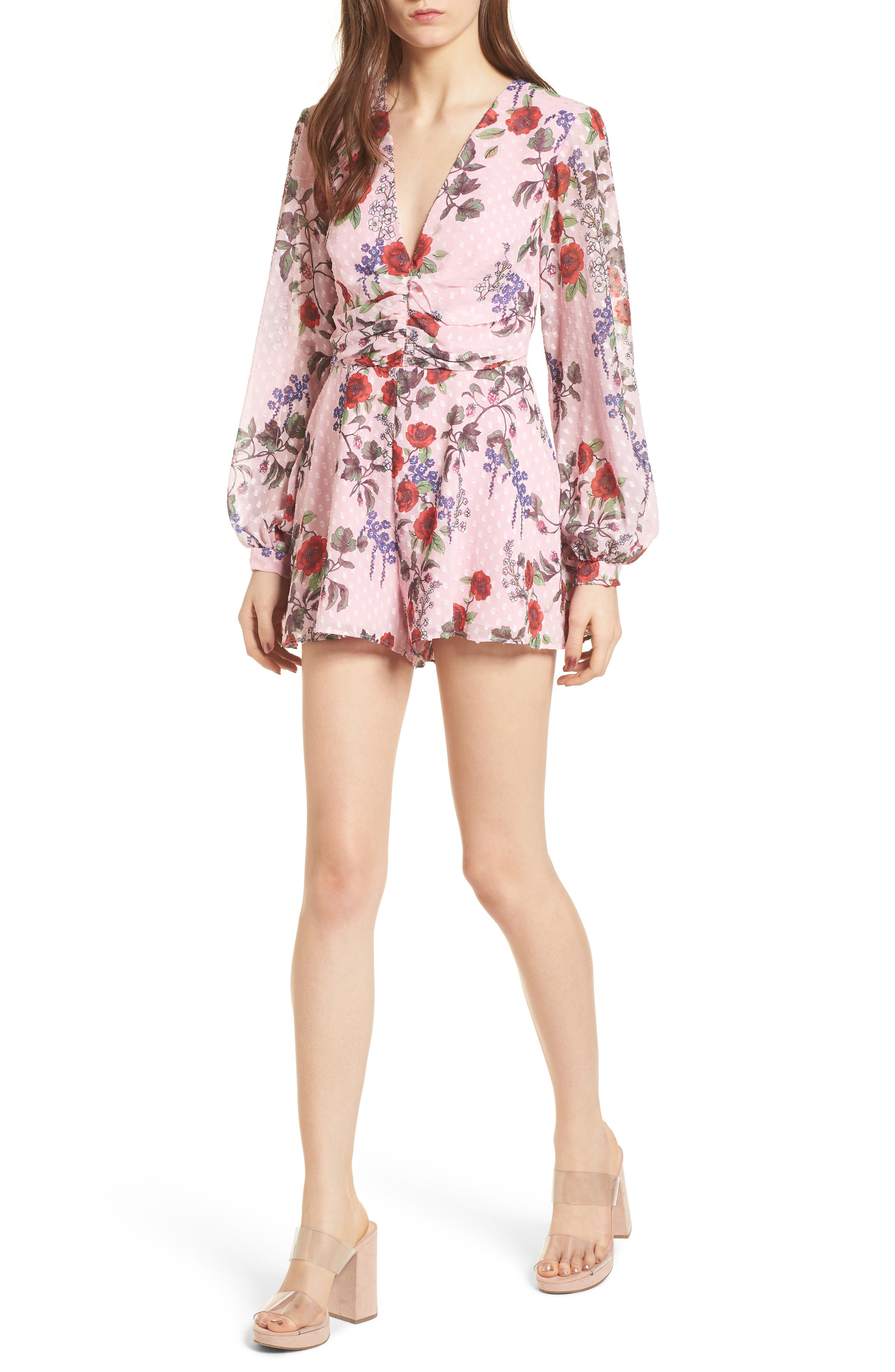 Need You Now Romper,                             Main thumbnail 1, color,                             Powder Pink Floral